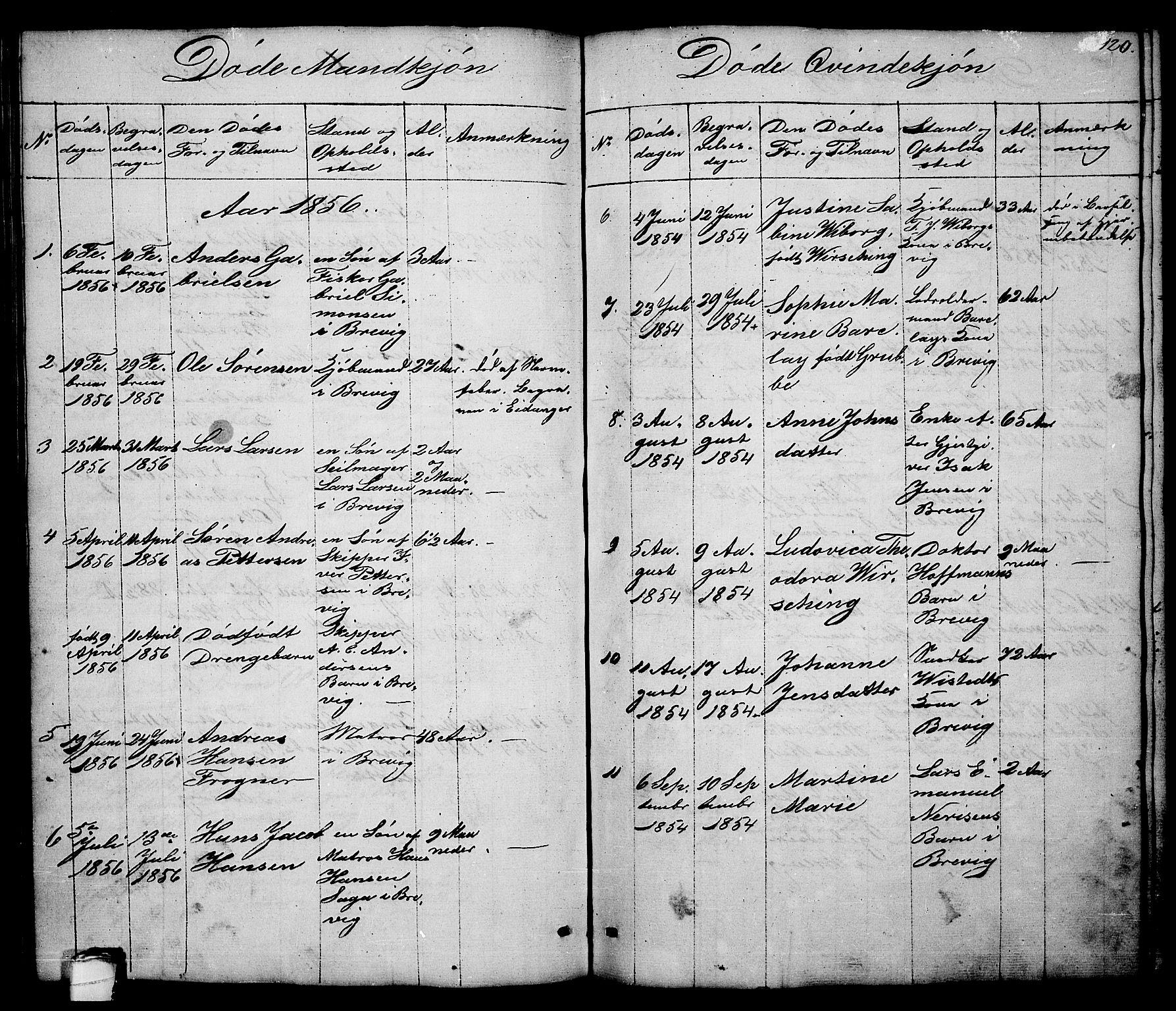 SAKO, Brevik kirkebøker, G/Ga/L0002: Klokkerbok nr. 2, 1846-1865, s. 120
