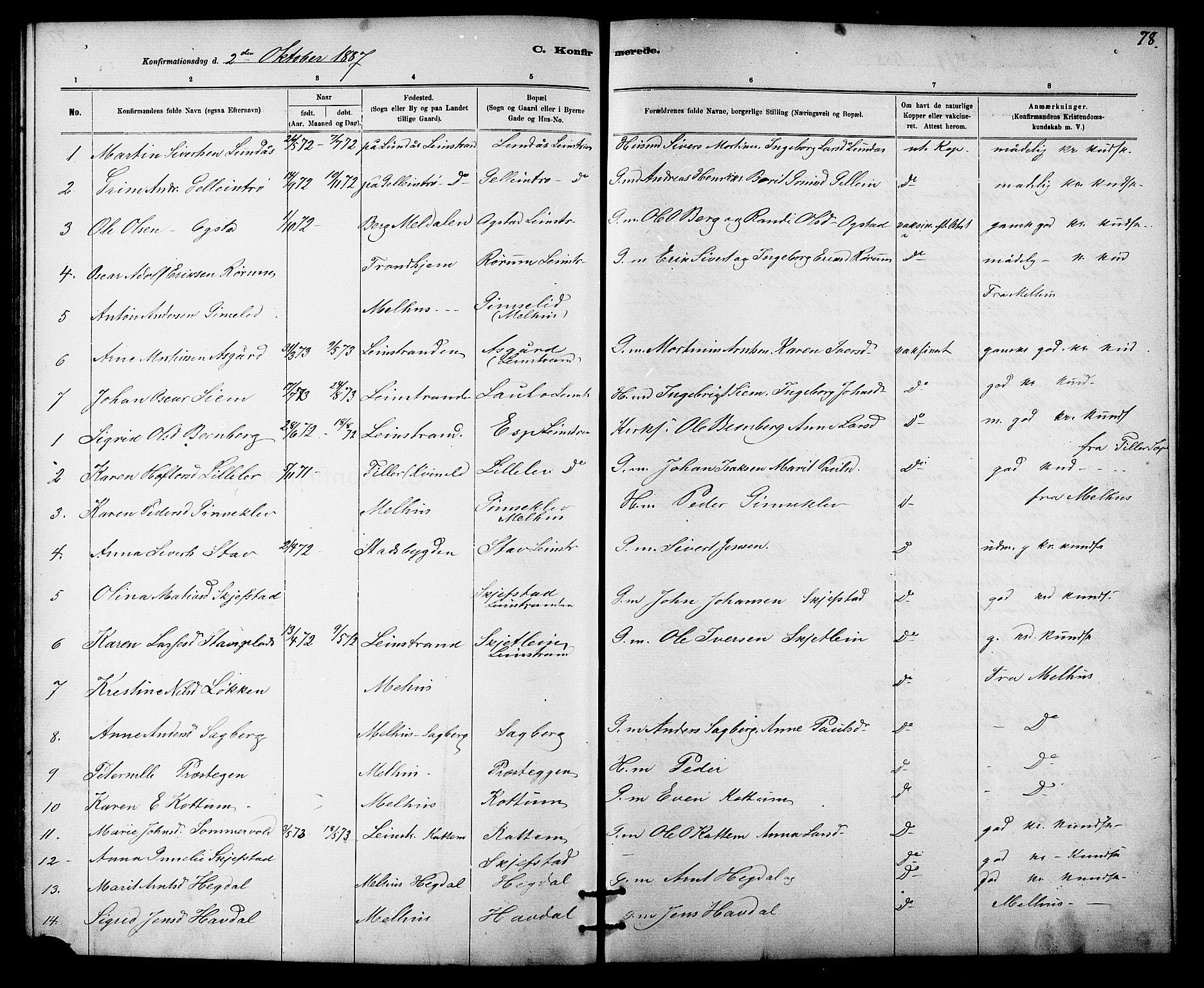 SAT, Ministerialprotokoller, klokkerbøker og fødselsregistre - Sør-Trøndelag, 613/L0395: Klokkerbok nr. 613C03, 1887-1909, s. 78
