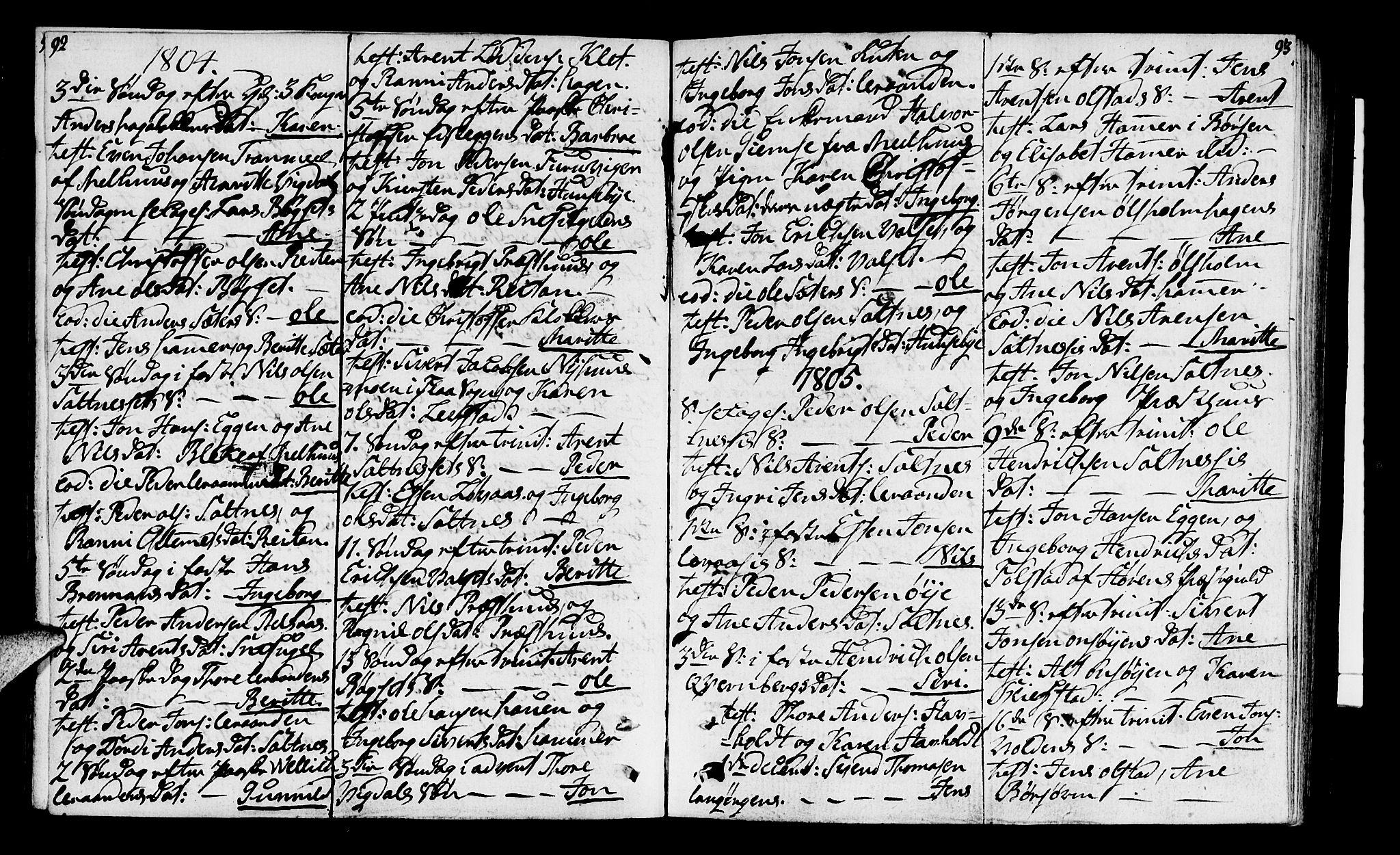 SAT, Ministerialprotokoller, klokkerbøker og fødselsregistre - Sør-Trøndelag, 666/L0785: Ministerialbok nr. 666A03, 1803-1816, s. 92-93