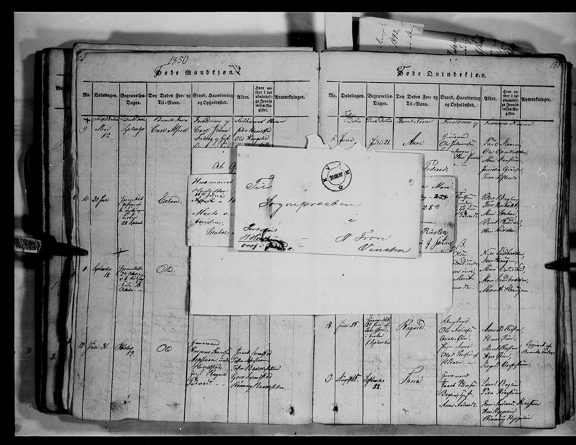 SAH, Fron prestekontor, H/Ha/Hab/L0003: Klokkerbok nr. 3, 1816-1850, s. 153