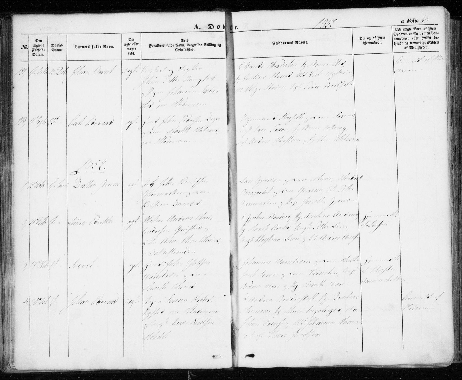 SAT, Ministerialprotokoller, klokkerbøker og fødselsregistre - Sør-Trøndelag, 606/L0291: Ministerialbok nr. 606A06, 1848-1856, s. 63