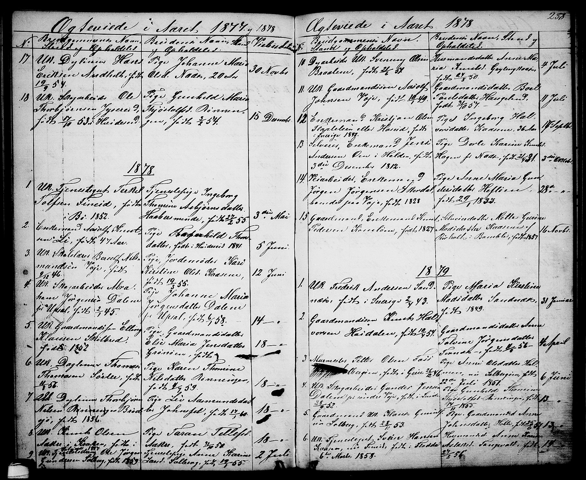 SAKO, Drangedal kirkebøker, G/Ga/L0002: Klokkerbok nr. I 2, 1856-1887, s. 238