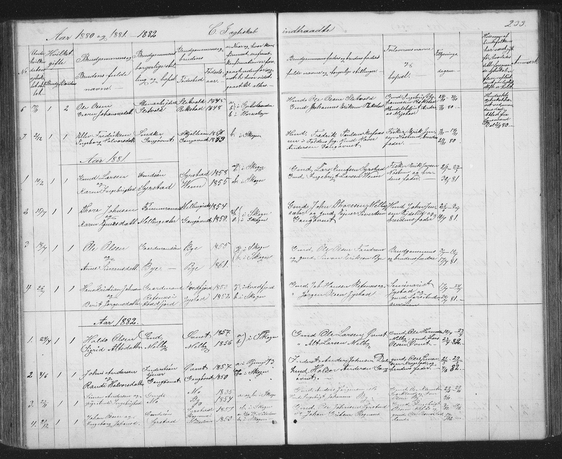 SAT, Ministerialprotokoller, klokkerbøker og fødselsregistre - Sør-Trøndelag, 667/L0798: Klokkerbok nr. 667C03, 1867-1929, s. 233