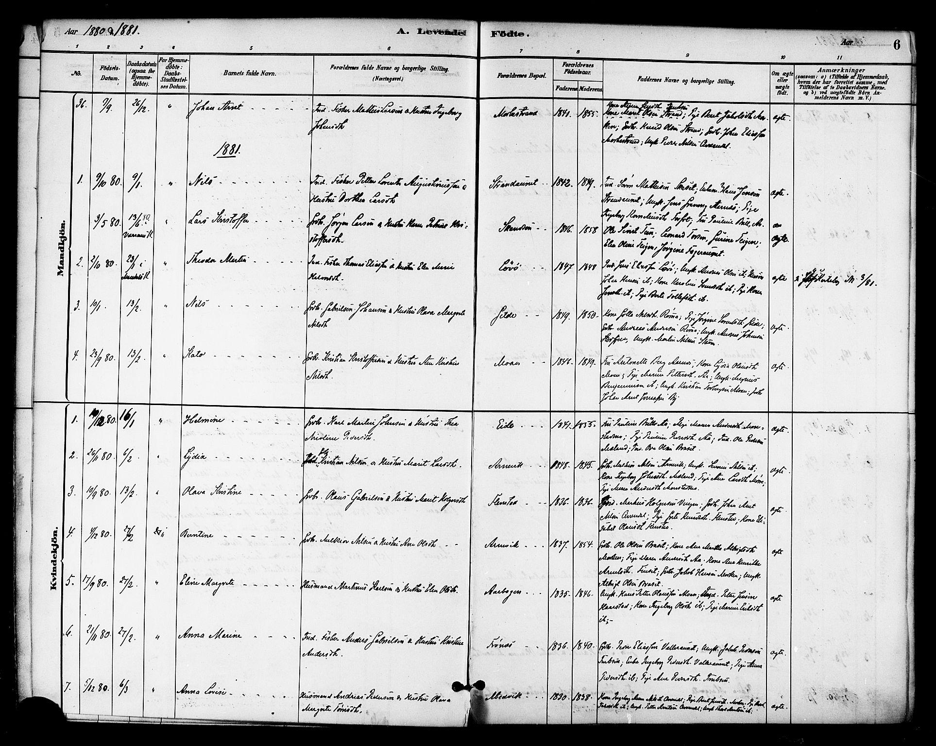 SAT, Ministerialprotokoller, klokkerbøker og fødselsregistre - Sør-Trøndelag, 655/L0680: Ministerialbok nr. 655A09, 1880-1894, s. 6