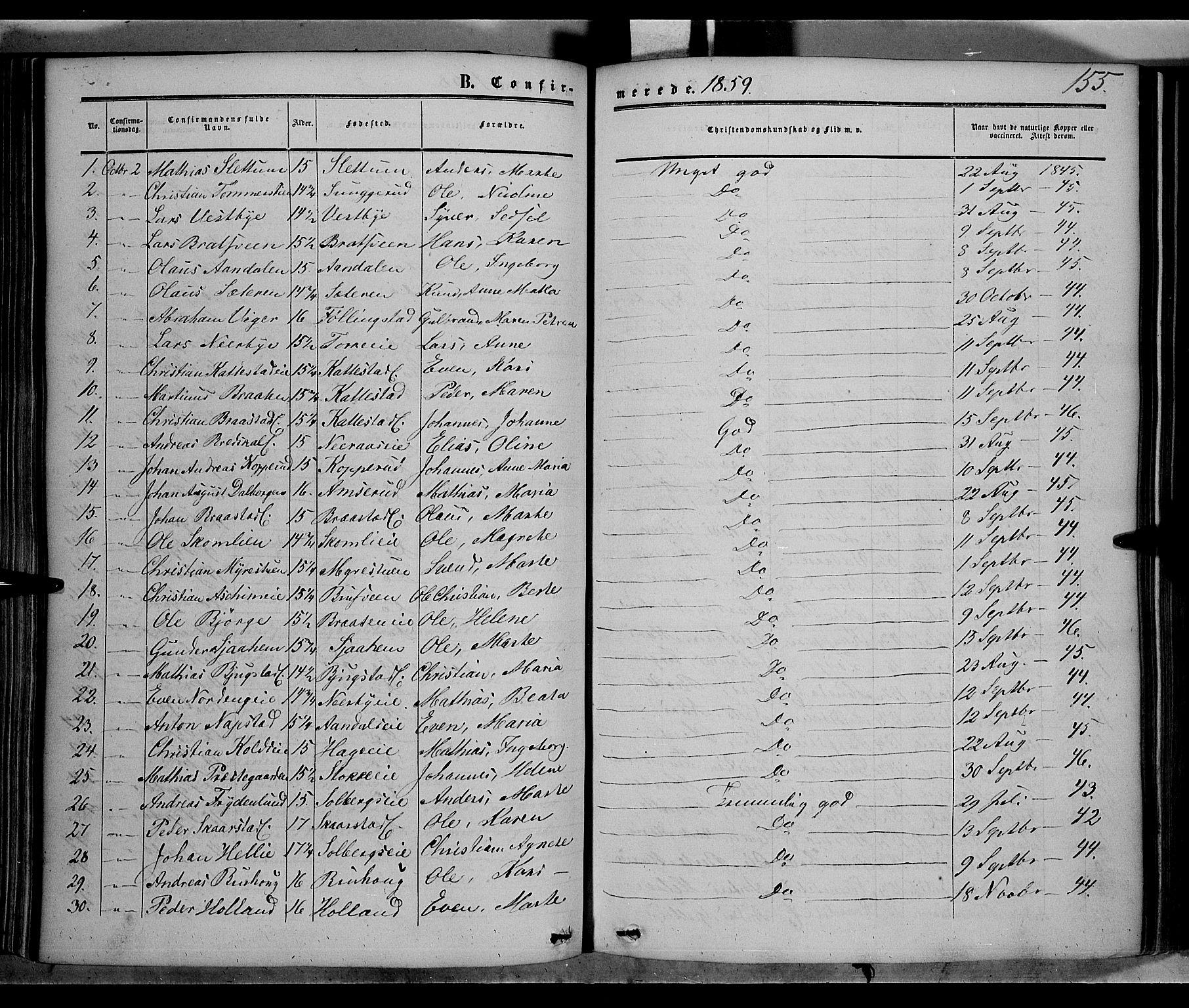 SAH, Vardal prestekontor, H/Ha/Haa/L0006: Ministerialbok nr. 6, 1854-1866, s. 155