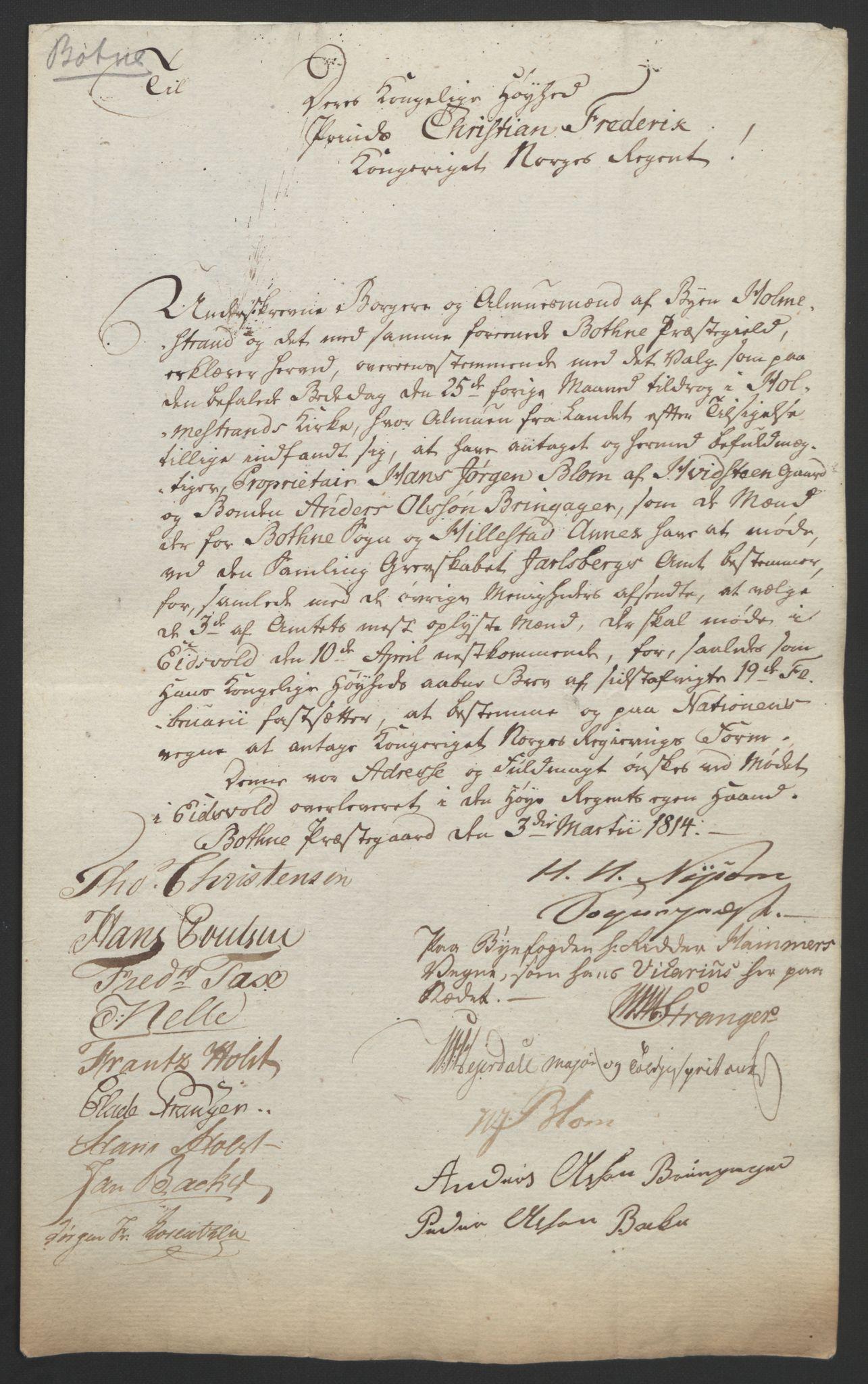 RA, Statsrådssekretariatet, D/Db/L0008: Fullmakter for Eidsvollsrepresentantene i 1814. , 1814, s. 8