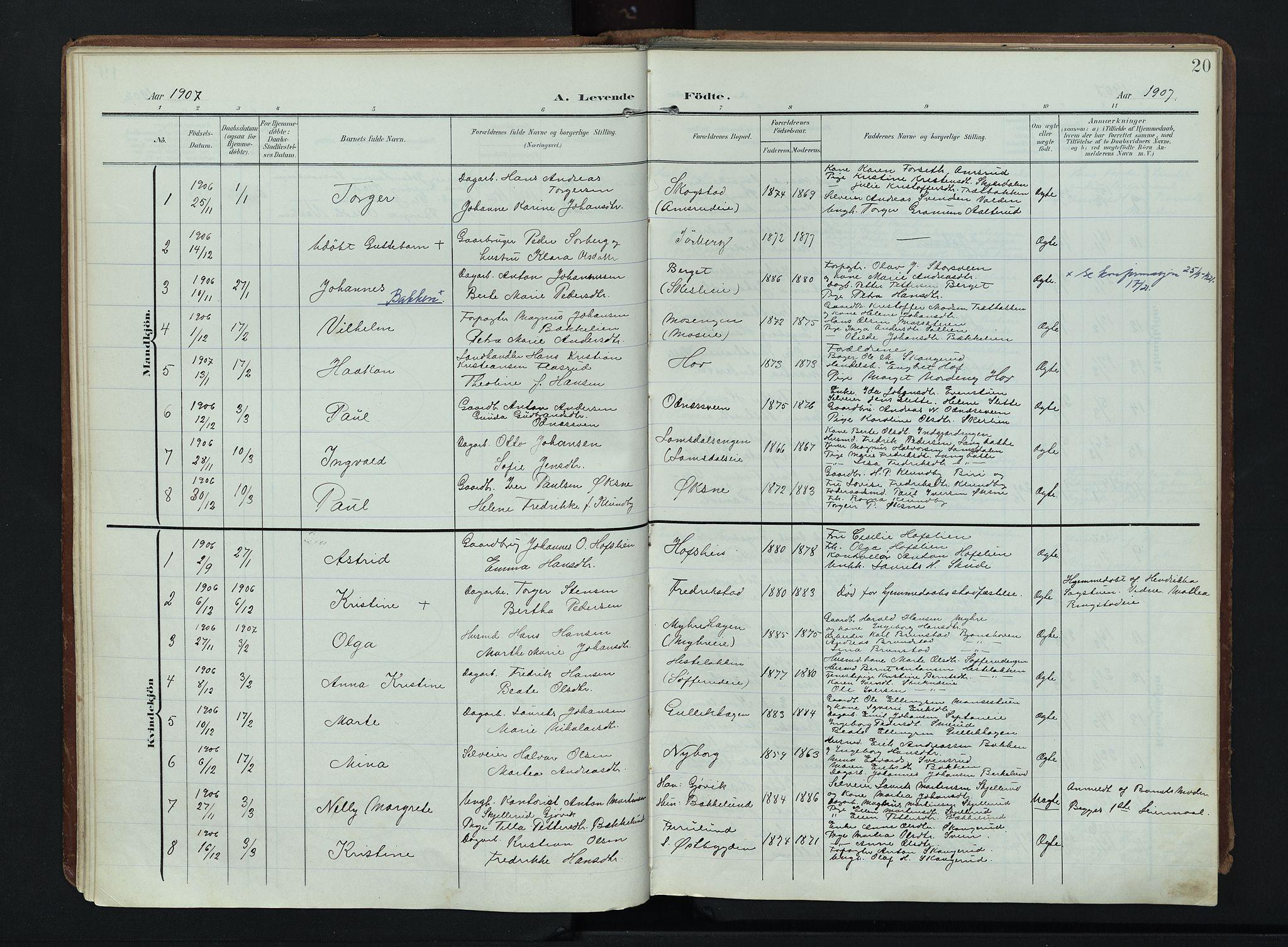 SAH, Søndre Land prestekontor, K/L0007: Ministerialbok nr. 7, 1905-1914, s. 20