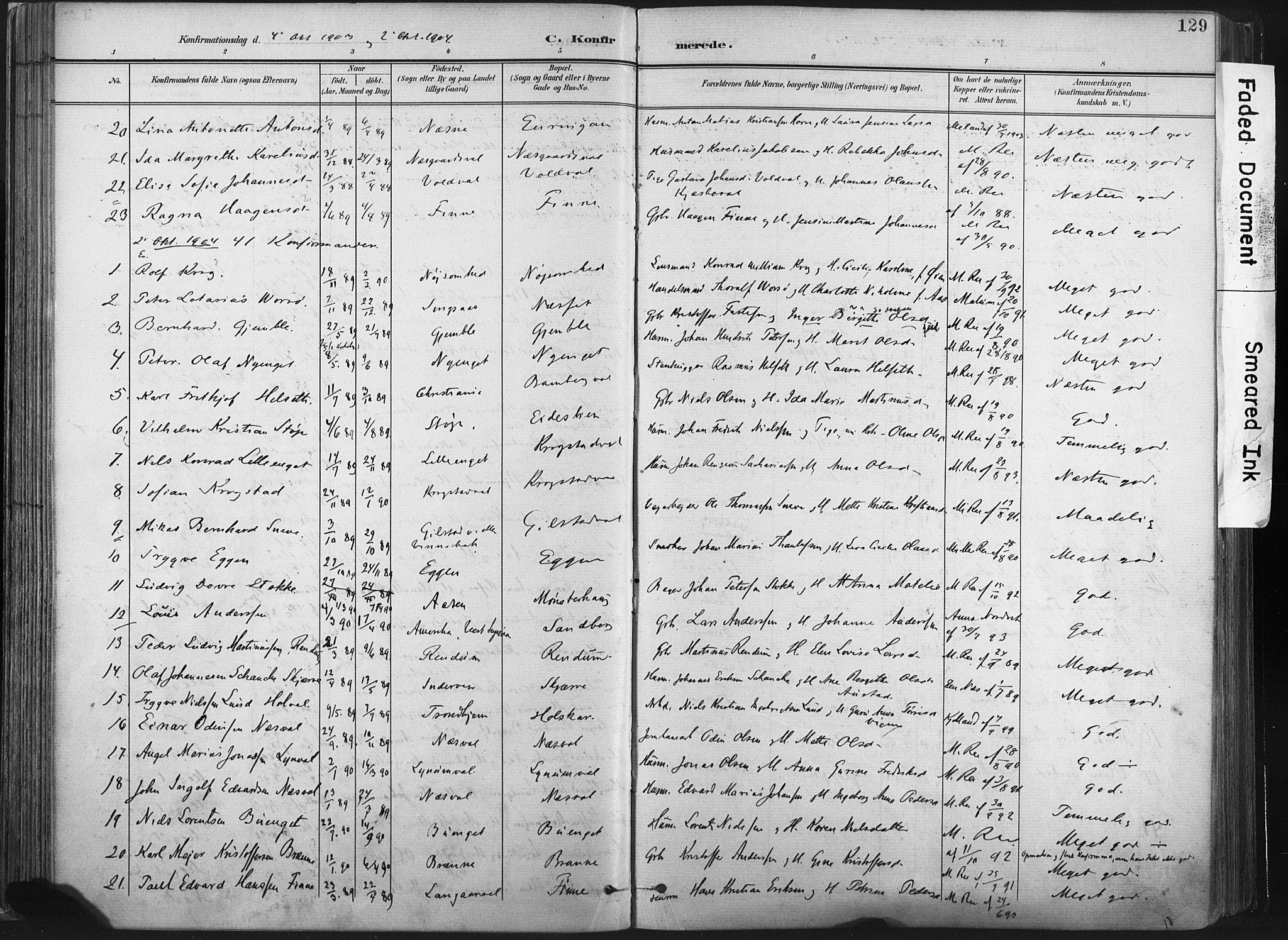 SAT, Ministerialprotokoller, klokkerbøker og fødselsregistre - Nord-Trøndelag, 717/L0162: Ministerialbok nr. 717A12, 1898-1923, s. 129