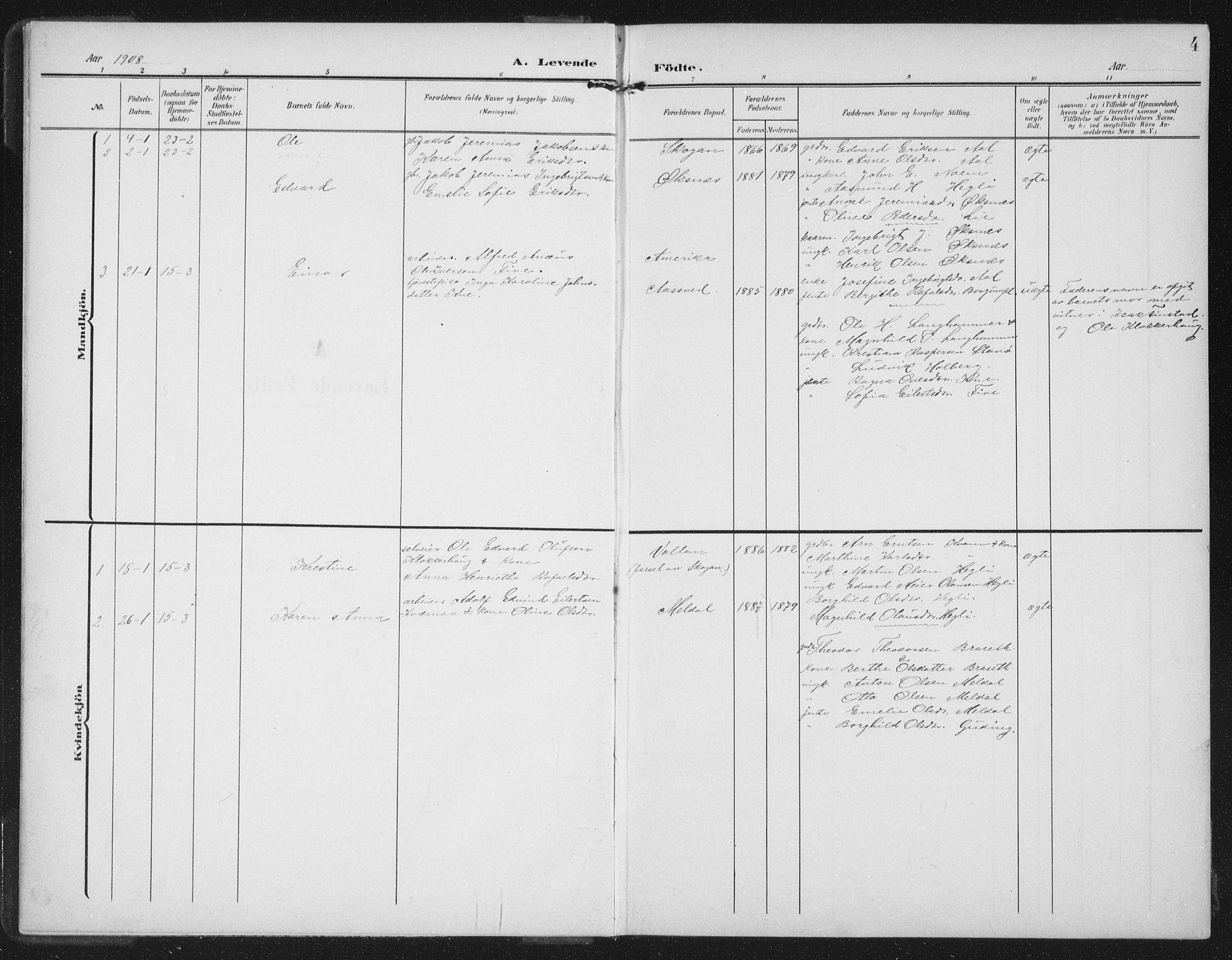 SAT, Ministerialprotokoller, klokkerbøker og fødselsregistre - Nord-Trøndelag, 747/L0460: Klokkerbok nr. 747C02, 1908-1939, s. 4