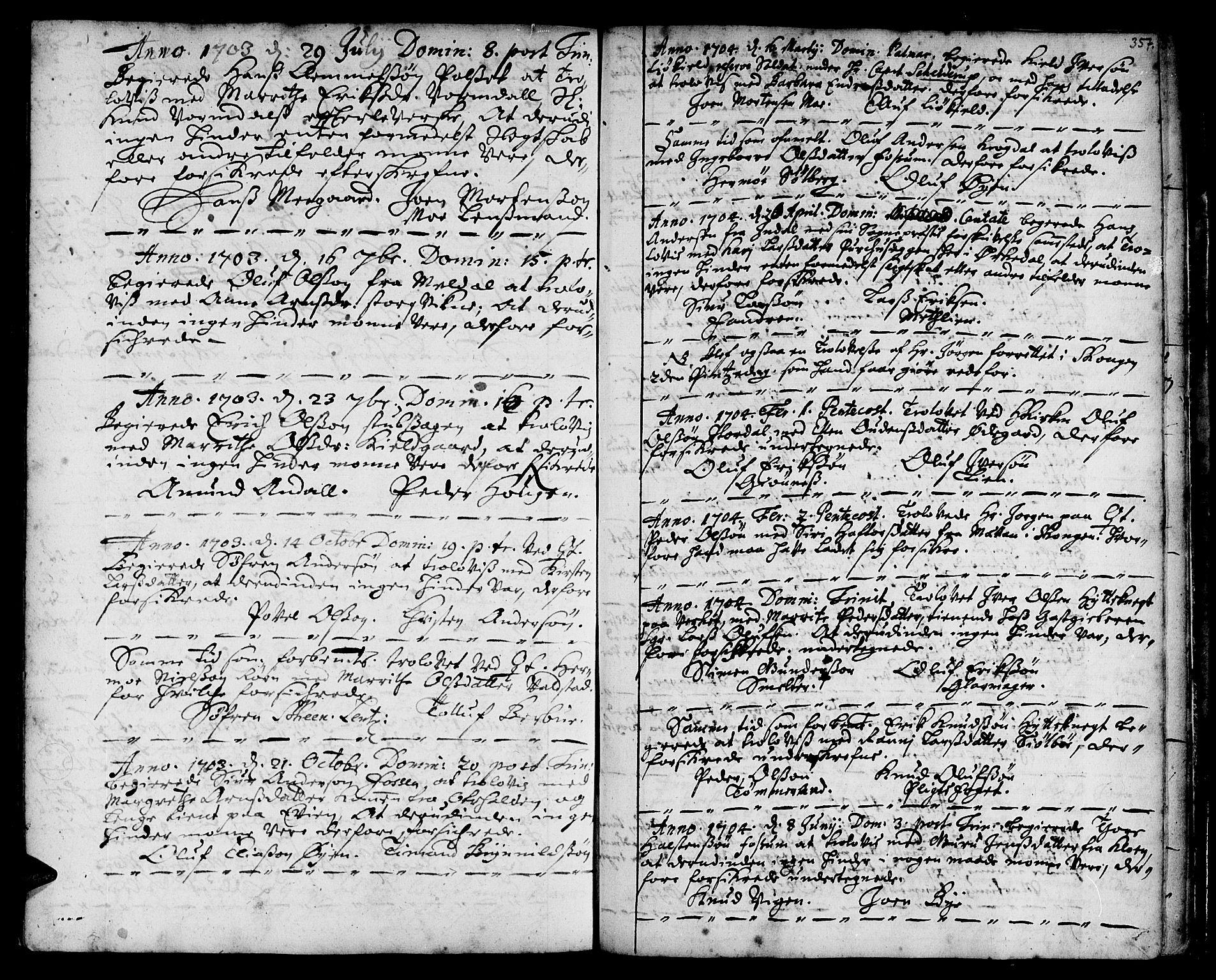 SAT, Ministerialprotokoller, klokkerbøker og fødselsregistre - Sør-Trøndelag, 668/L0801: Ministerialbok nr. 668A01, 1695-1716, s. 356-357