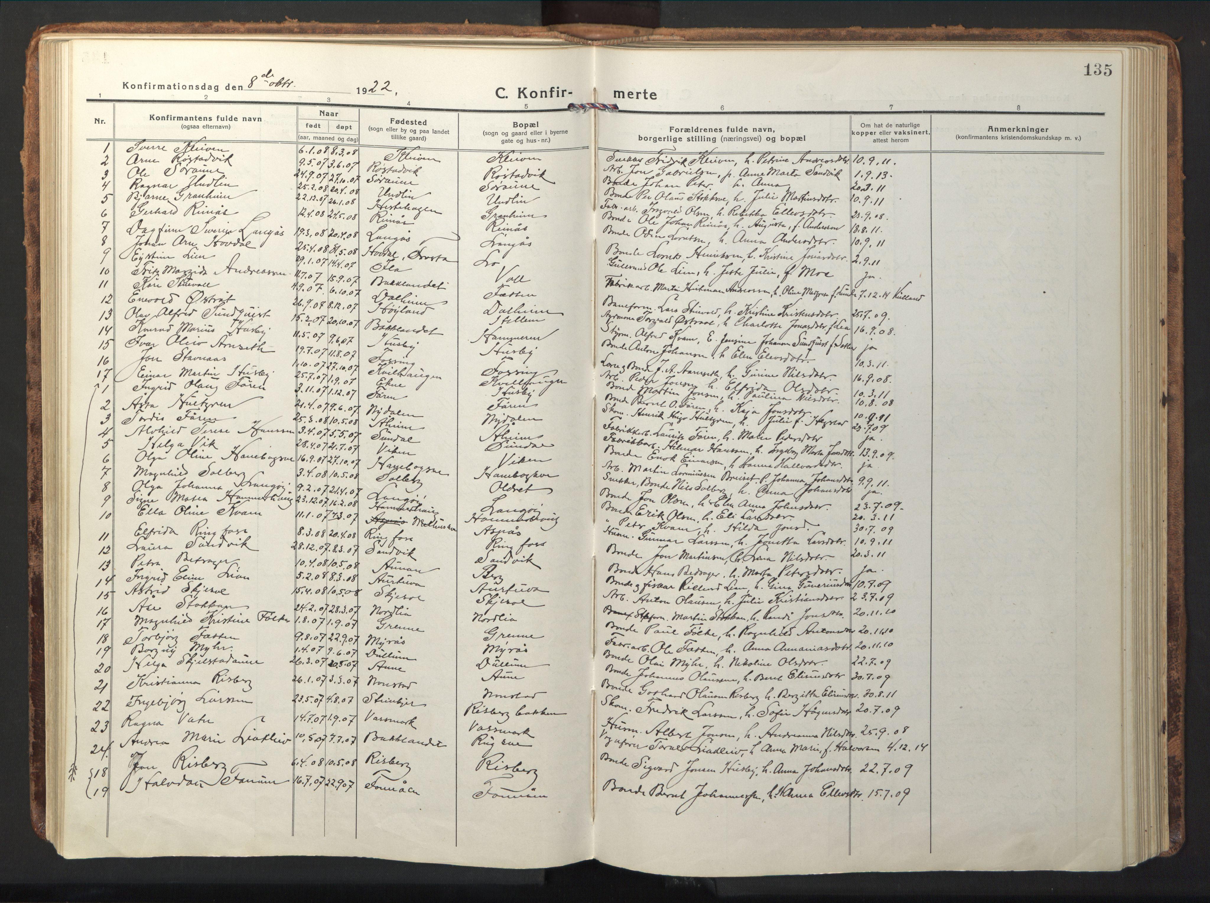 SAT, Ministerialprotokoller, klokkerbøker og fødselsregistre - Nord-Trøndelag, 714/L0136: Klokkerbok nr. 714C05, 1918-1957, s. 135