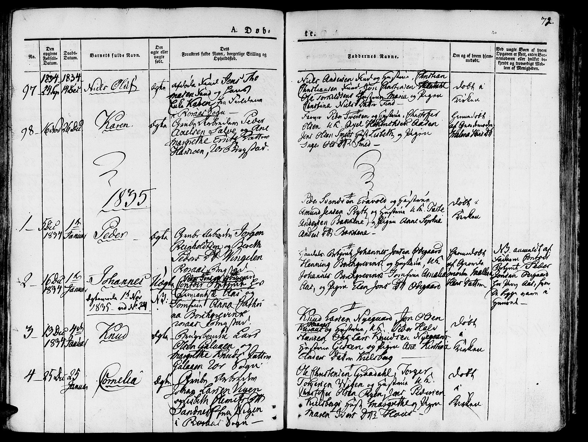 SAT, Ministerialprotokoller, klokkerbøker og fødselsregistre - Sør-Trøndelag, 681/L0930: Ministerialbok nr. 681A08, 1829-1844, s. 72