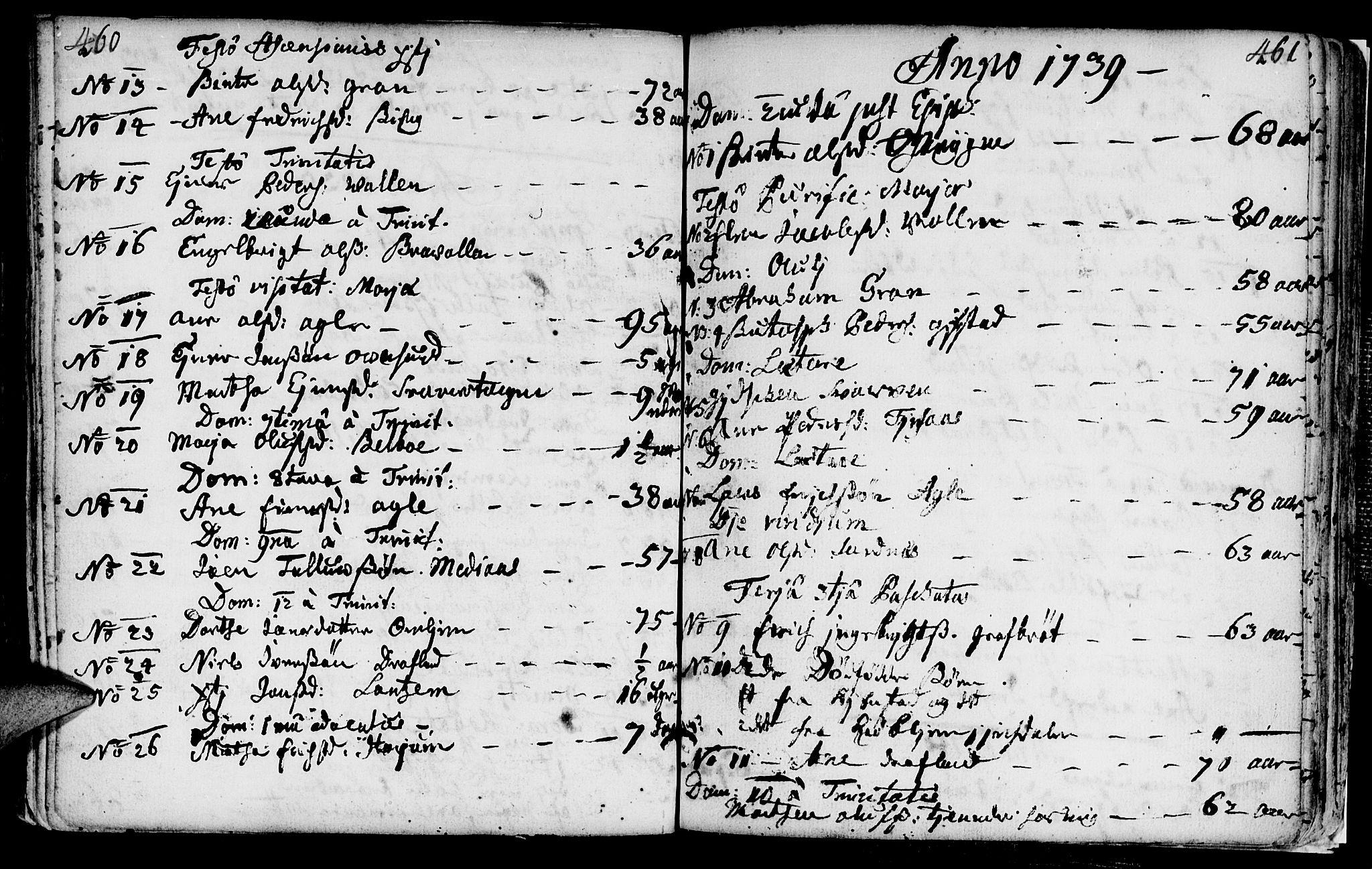 SAT, Ministerialprotokoller, klokkerbøker og fødselsregistre - Nord-Trøndelag, 749/L0467: Ministerialbok nr. 749A01, 1733-1787, s. 460-461