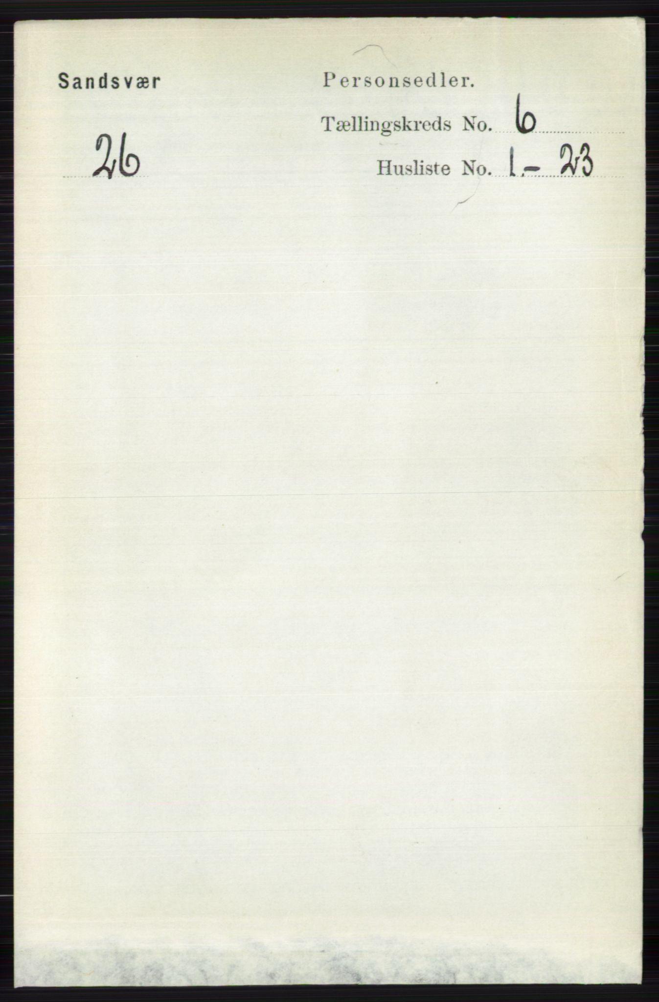 RA, Folketelling 1891 for 0629 Sandsvær herred, 1891, s. 3386