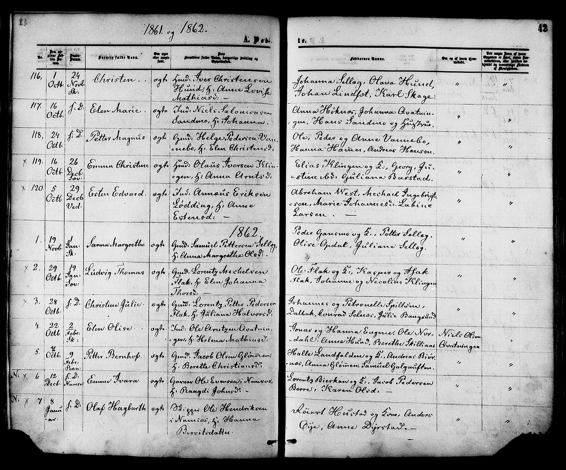 SAT, Ministerialprotokoller, klokkerbøker og fødselsregistre - Nord-Trøndelag, 764/L0553: Ministerialbok nr. 764A08, 1858-1880, s. 42