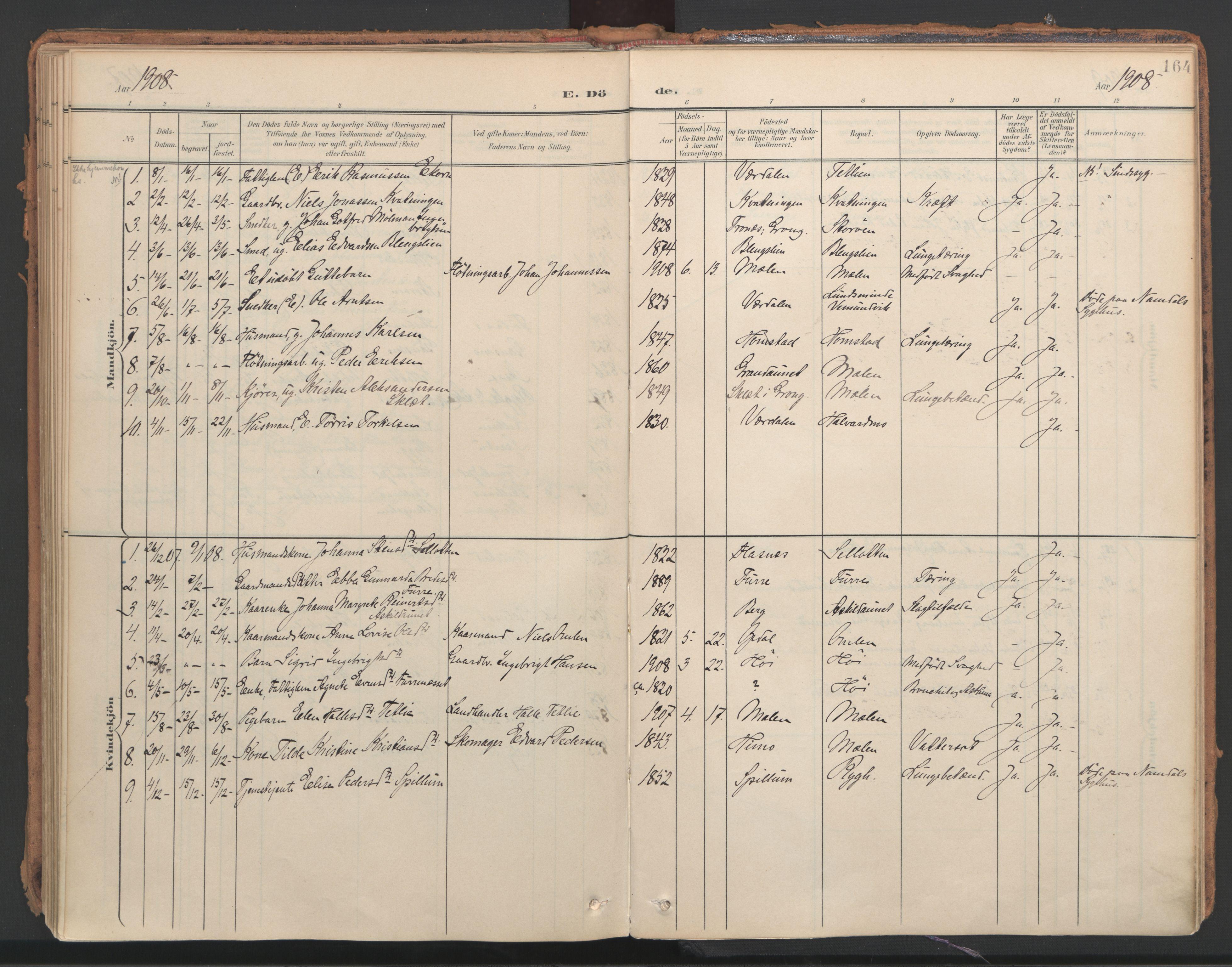 SAT, Ministerialprotokoller, klokkerbøker og fødselsregistre - Nord-Trøndelag, 766/L0564: Ministerialbok nr. 767A02, 1900-1932, s. 164