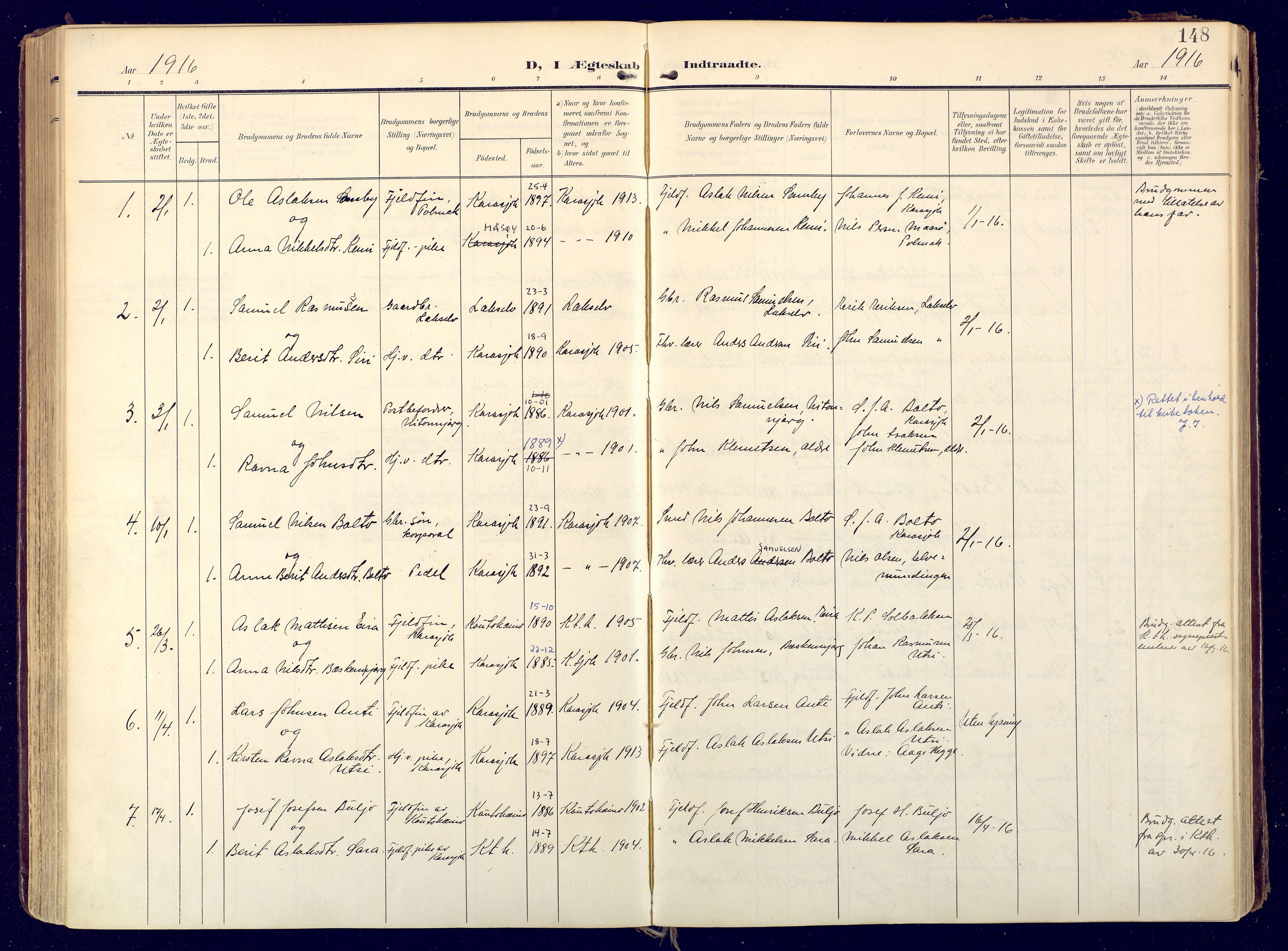 SATØ, Karasjok sokneprestkontor, H/Ha: Ministerialbok nr. 3, 1907-1926, s. 148