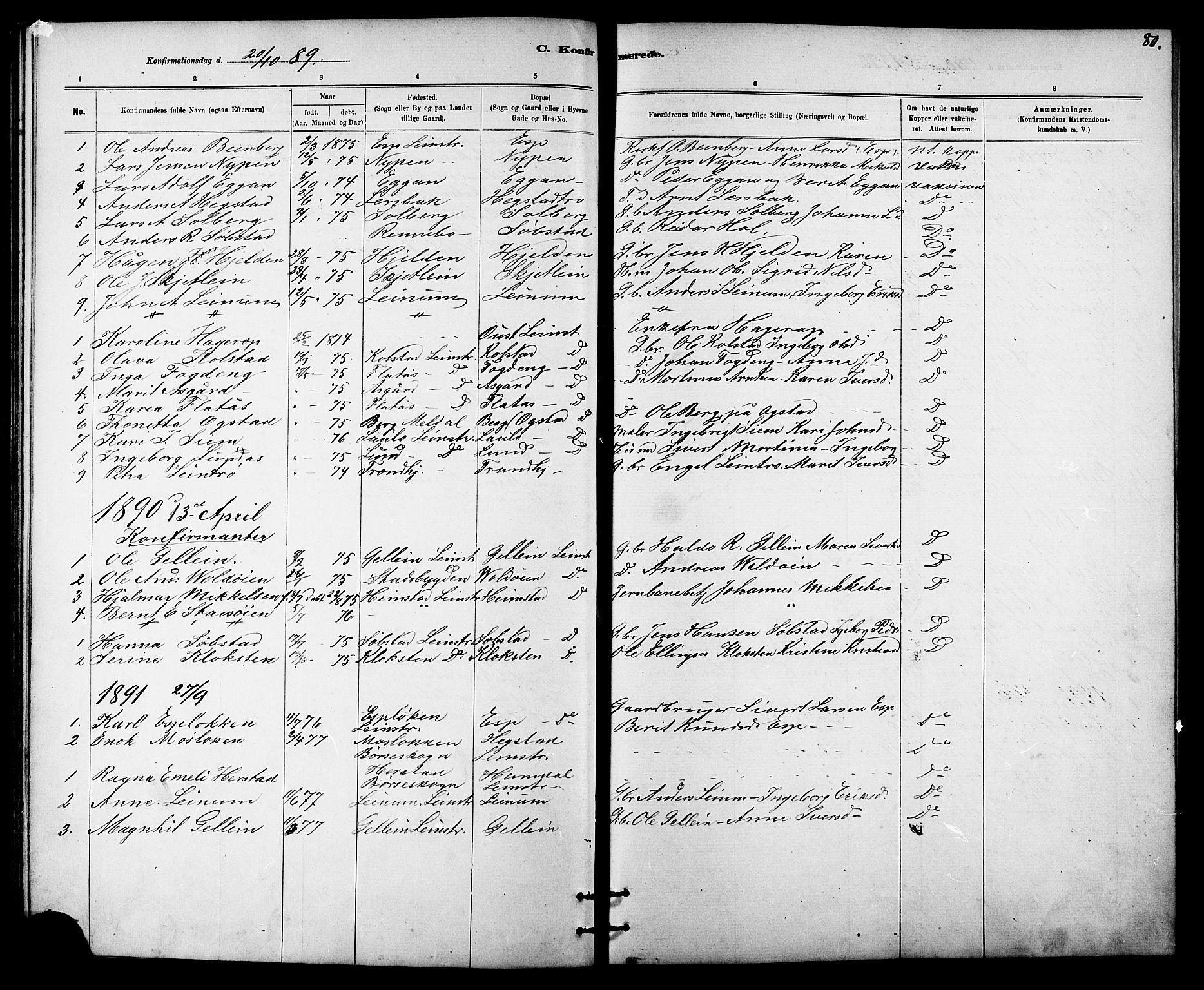 SAT, Ministerialprotokoller, klokkerbøker og fødselsregistre - Sør-Trøndelag, 613/L0395: Klokkerbok nr. 613C03, 1887-1909, s. 80