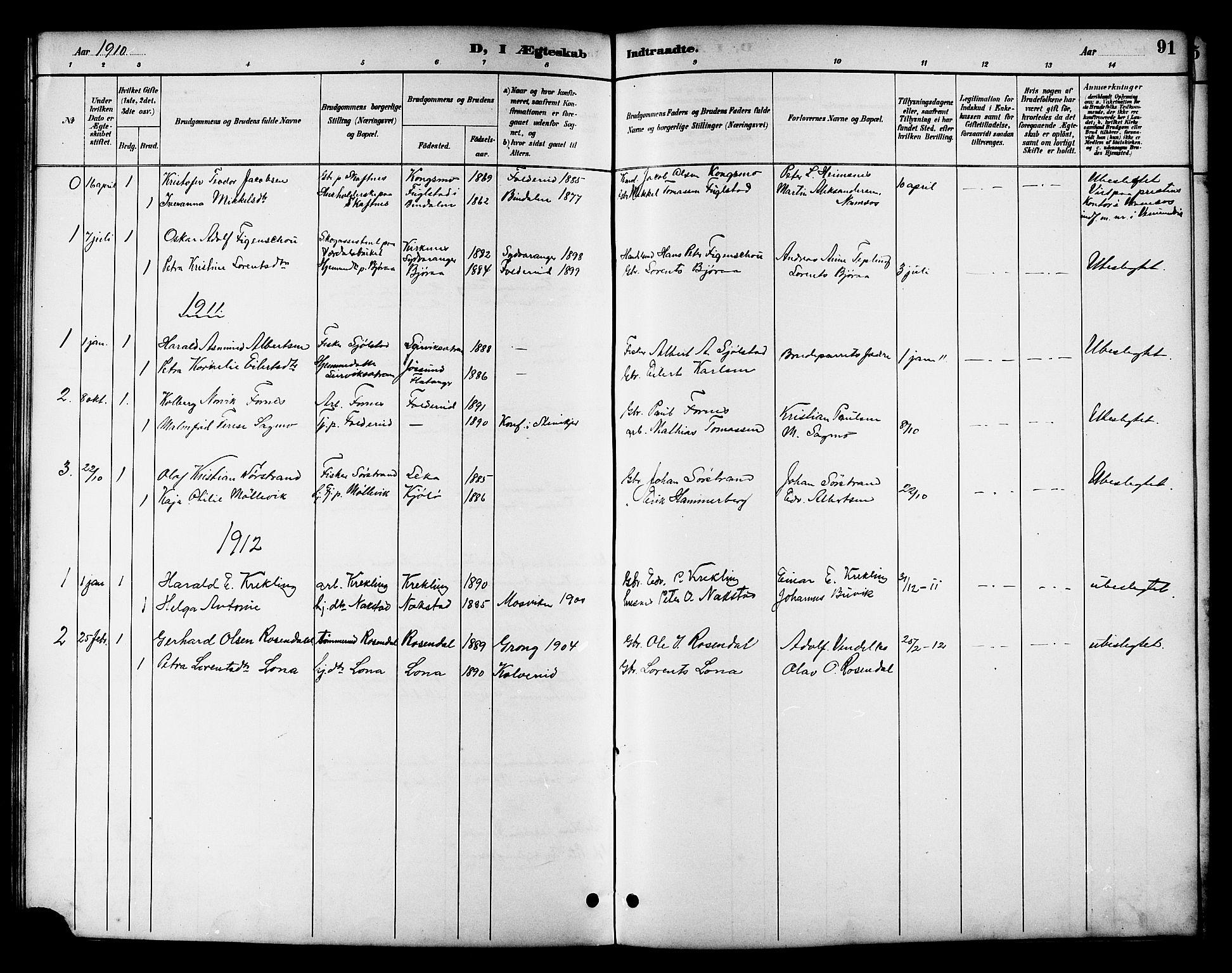 SAT, Ministerialprotokoller, klokkerbøker og fødselsregistre - Nord-Trøndelag, 783/L0662: Klokkerbok nr. 783C02, 1894-1919, s. 91