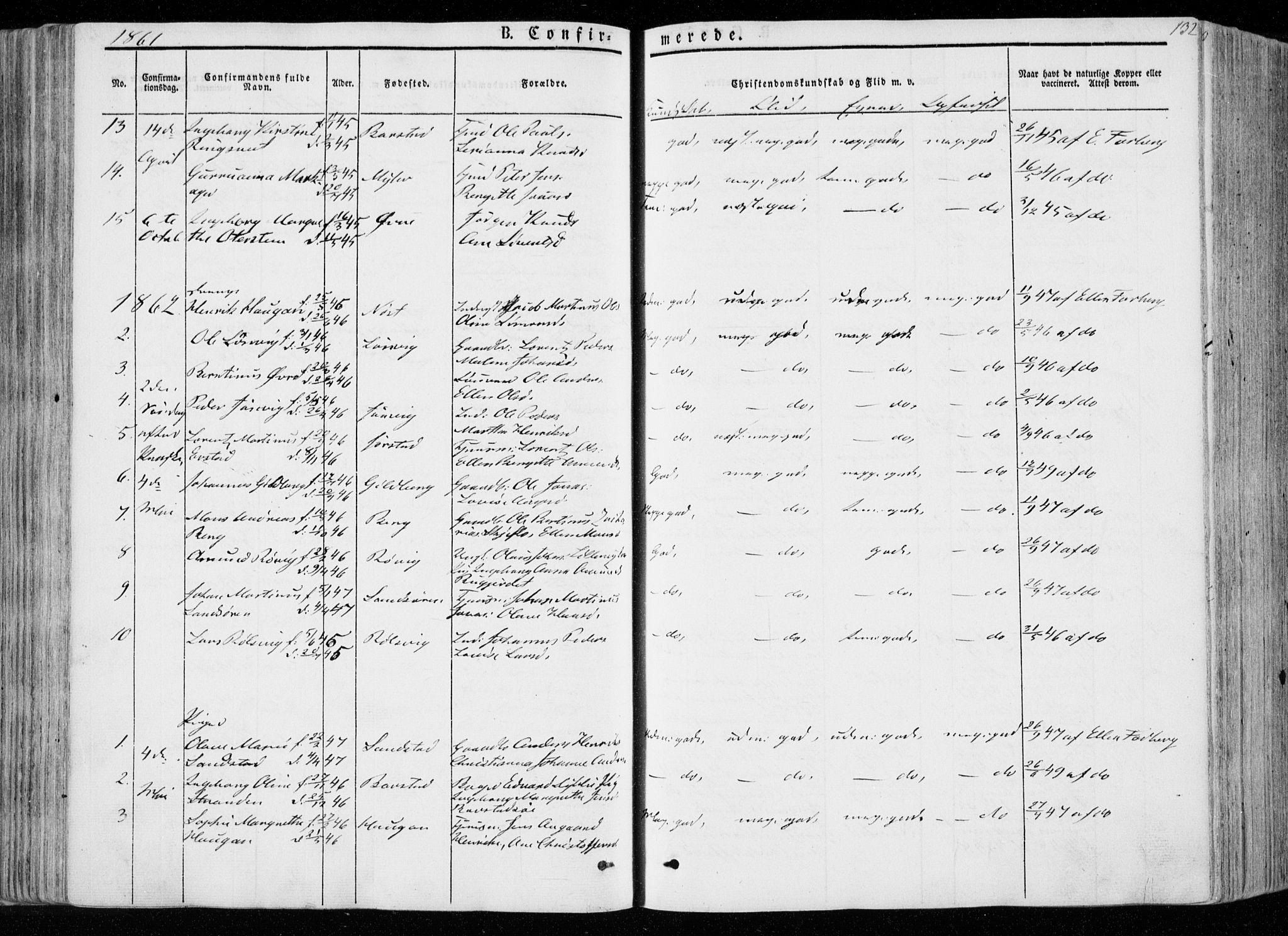 SAT, Ministerialprotokoller, klokkerbøker og fødselsregistre - Nord-Trøndelag, 722/L0218: Ministerialbok nr. 722A05, 1843-1868, s. 132