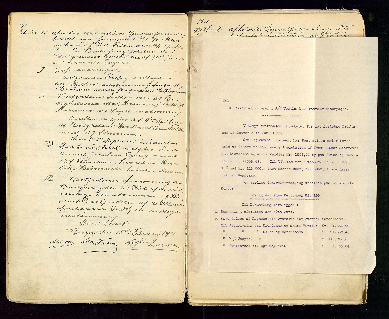 SAST, PA 1533 - A/S Vestlandske Petroleumscompani, A/Aa/L0001: Generalforsamlinger og styreprotokoller, 1890-1953, s. 47