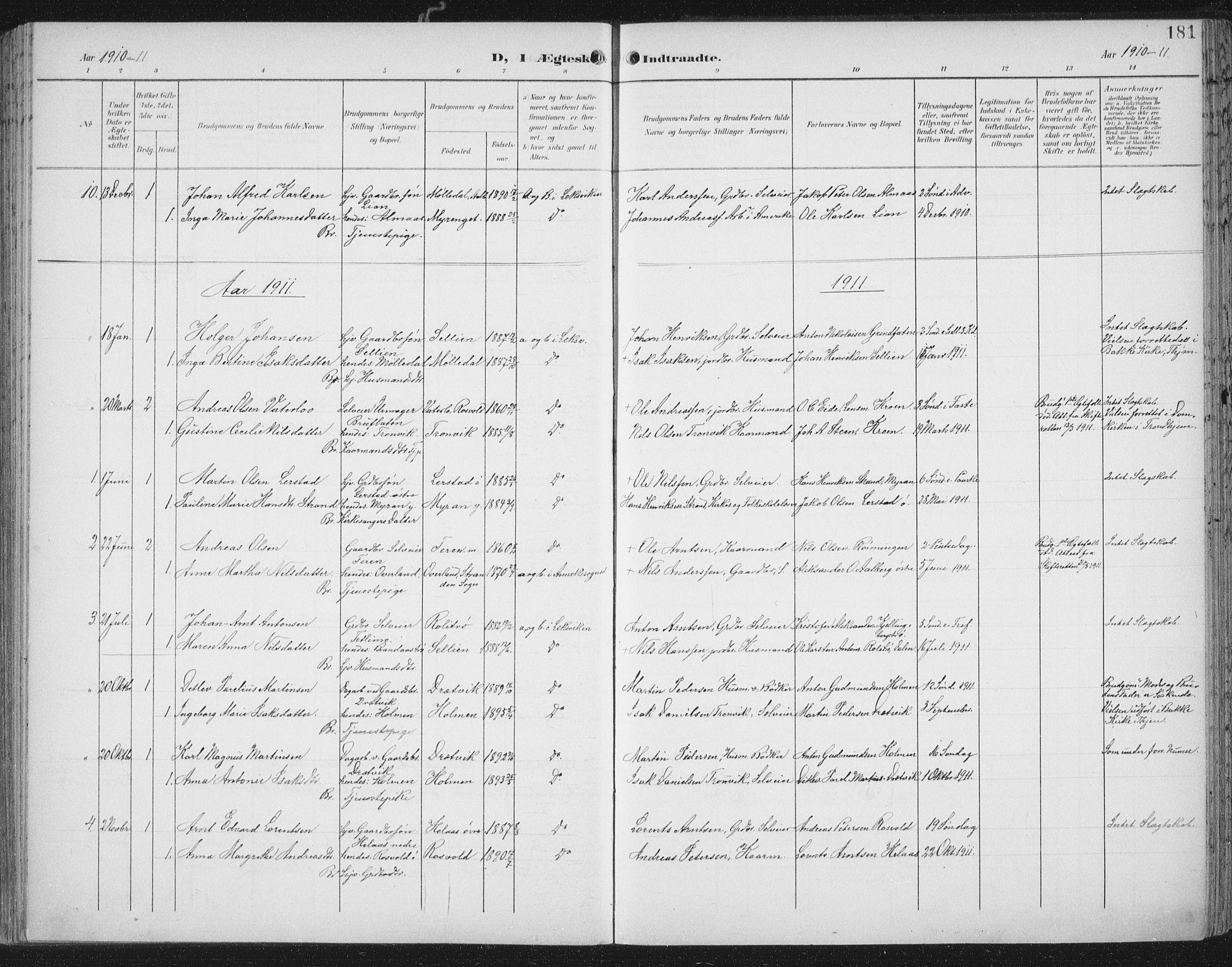 SAT, Ministerialprotokoller, klokkerbøker og fødselsregistre - Nord-Trøndelag, 701/L0011: Ministerialbok nr. 701A11, 1899-1915, s. 181