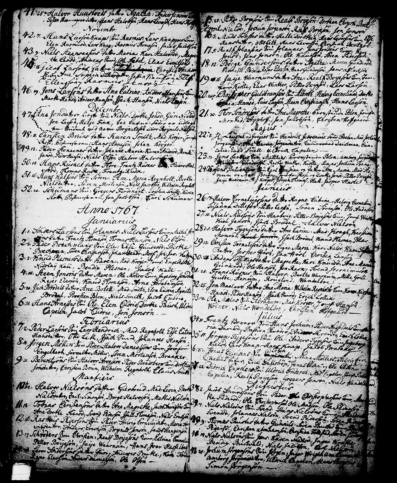 SAKO, Skien kirkebøker, G/Ga/L0001: Klokkerbok nr. 1, 1756-1791, s. 84