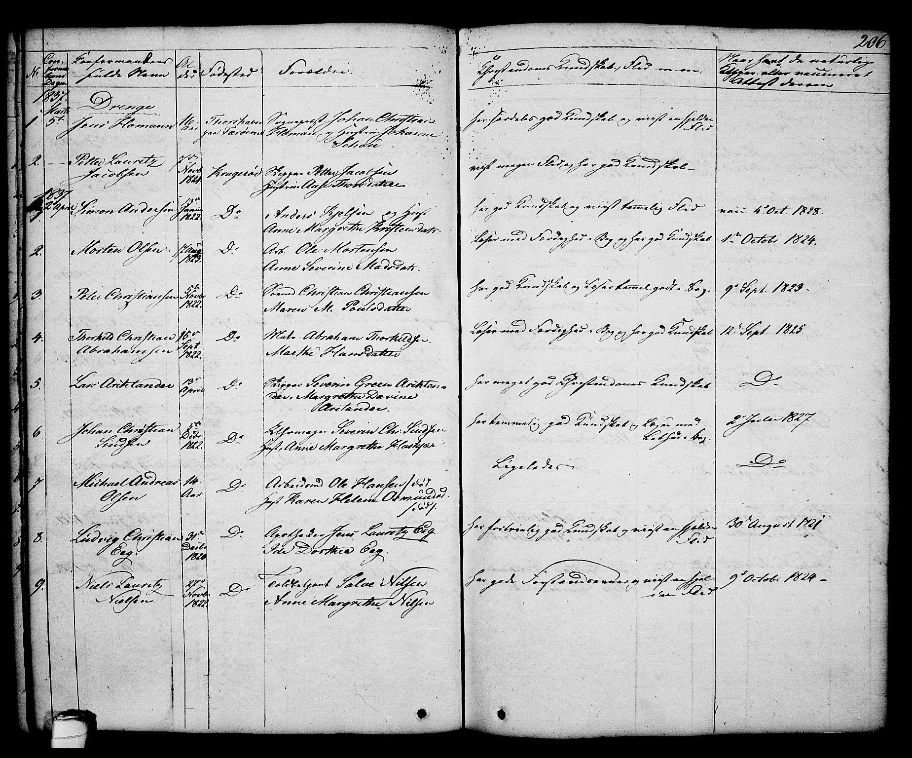 SAKO, Kragerø kirkebøker, G/Ga/L0003: Klokkerbok nr. 3, 1832-1852, s. 206