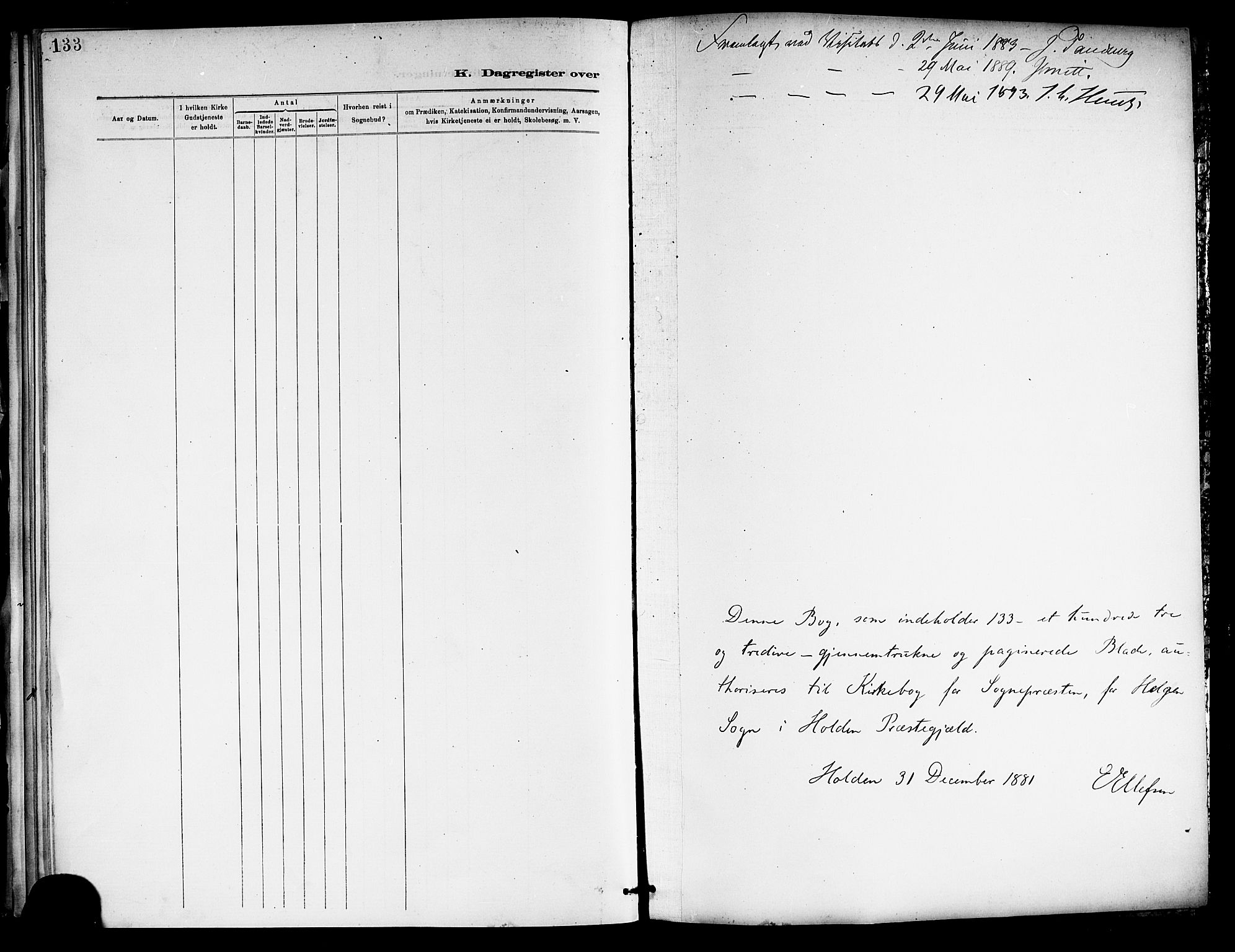 SAKO, Holla kirkebøker, F/Fa/L0009: Ministerialbok nr. 9, 1881-1897, s. 133