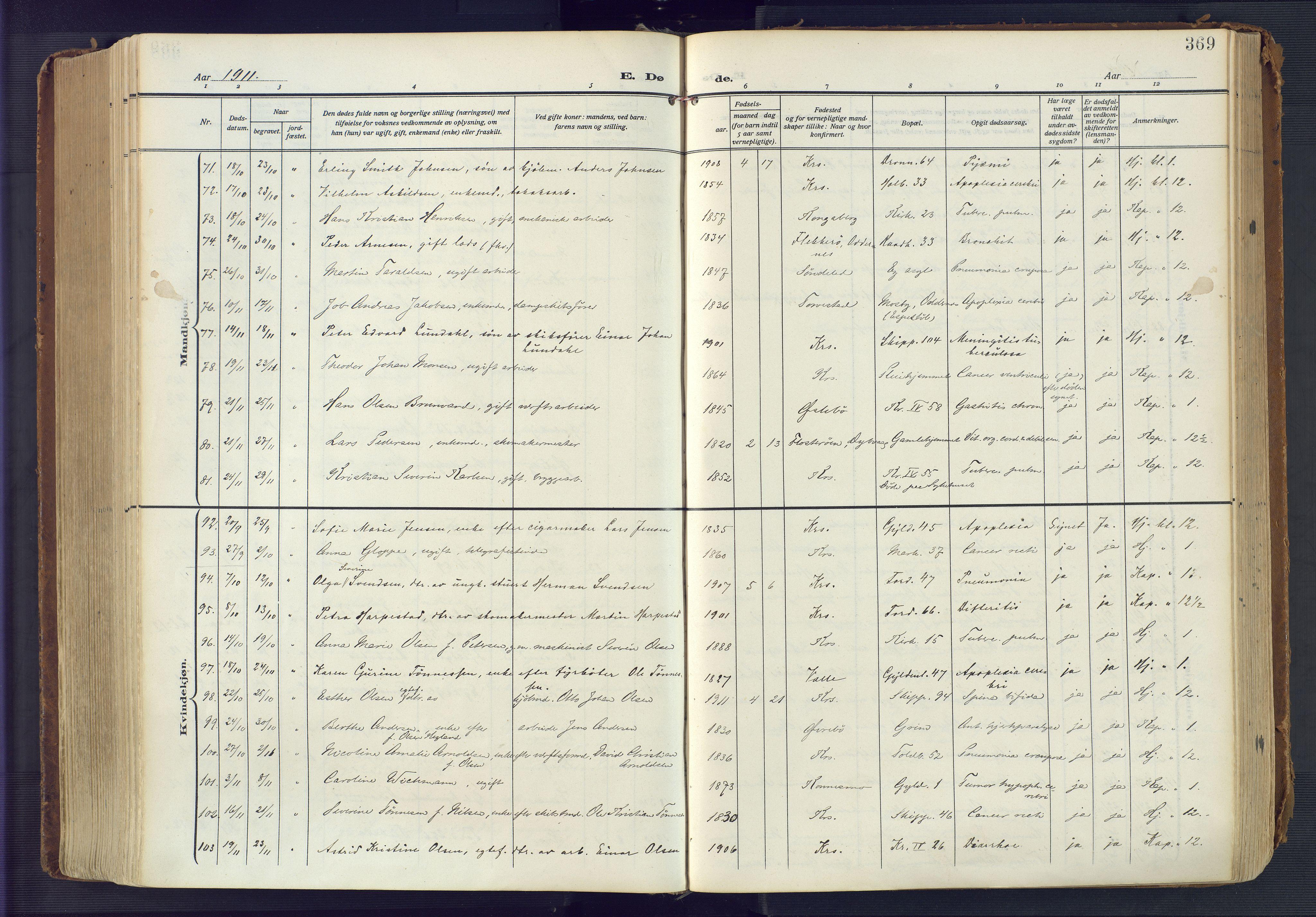 SAK, Kristiansand domprosti, F/Fa/L0023: Ministerialbok nr. A 22, 1909-1917, s. 369