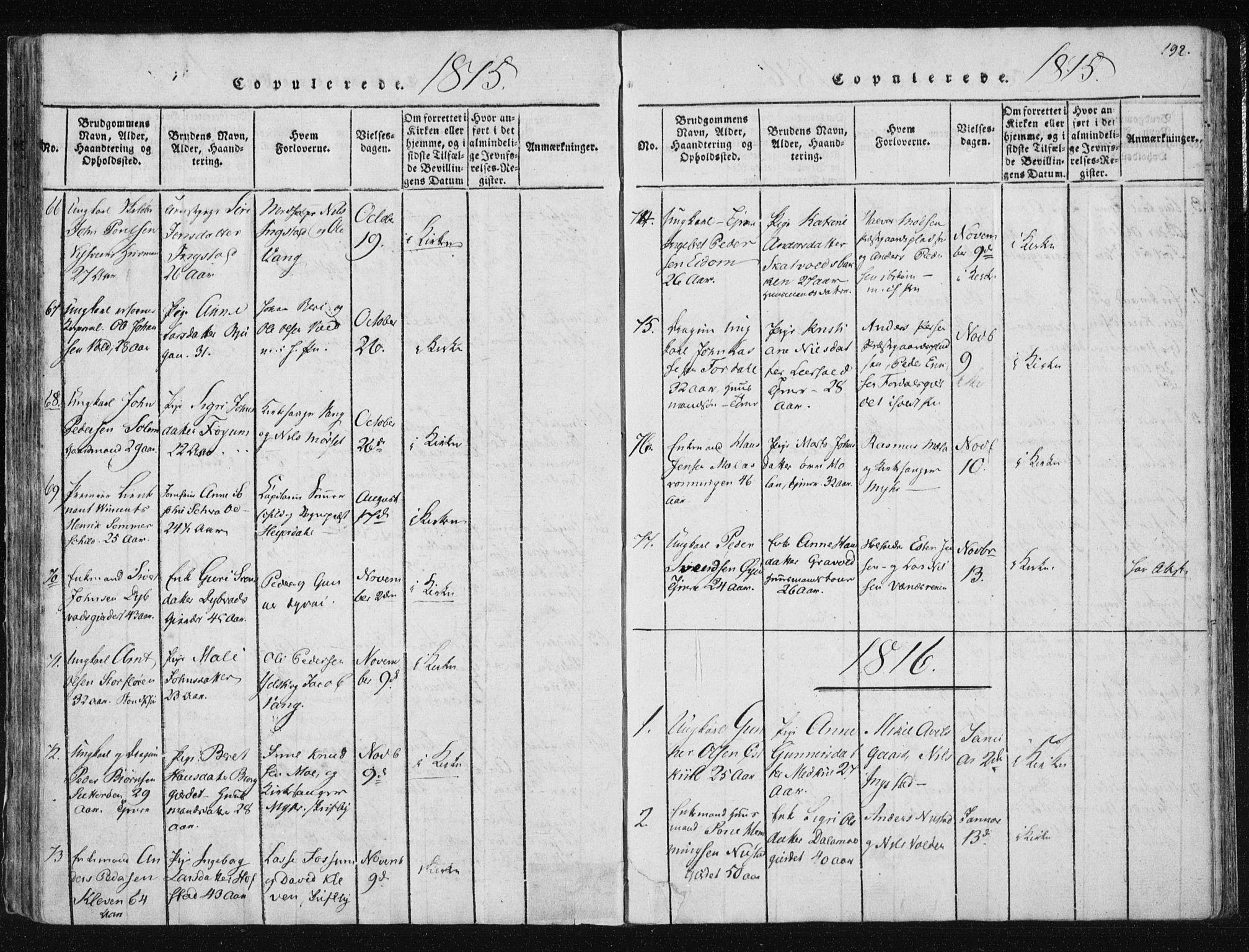 SAT, Ministerialprotokoller, klokkerbøker og fødselsregistre - Nord-Trøndelag, 709/L0061: Ministerialbok nr. 709A08 /1, 1815-1819, s. 192