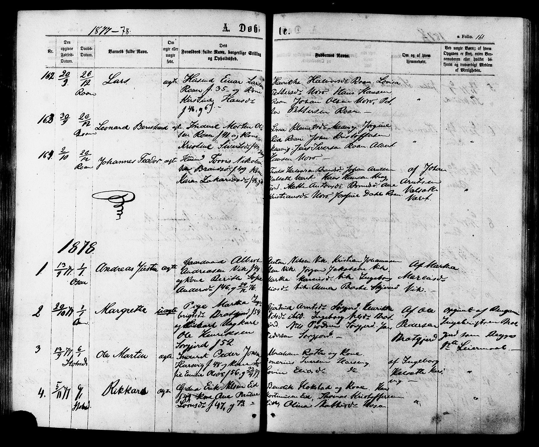 SAT, Ministerialprotokoller, klokkerbøker og fødselsregistre - Sør-Trøndelag, 657/L0706: Ministerialbok nr. 657A07, 1867-1878, s. 161