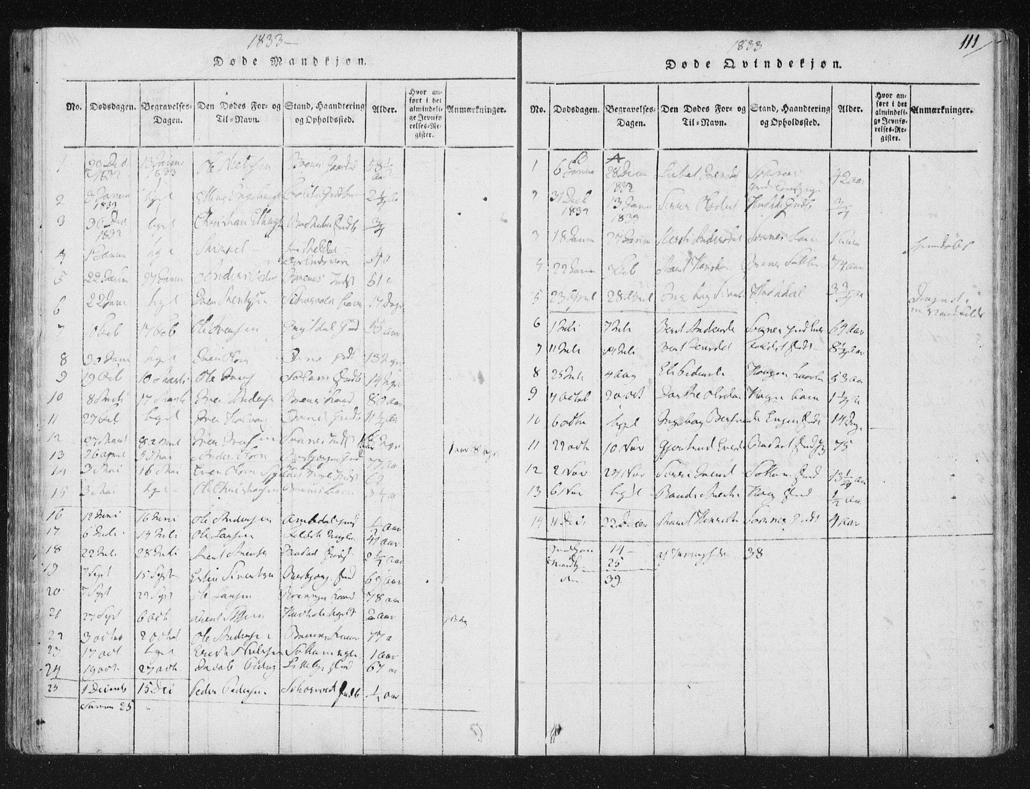 SAT, Ministerialprotokoller, klokkerbøker og fødselsregistre - Sør-Trøndelag, 687/L0996: Ministerialbok nr. 687A04, 1816-1842, s. 111