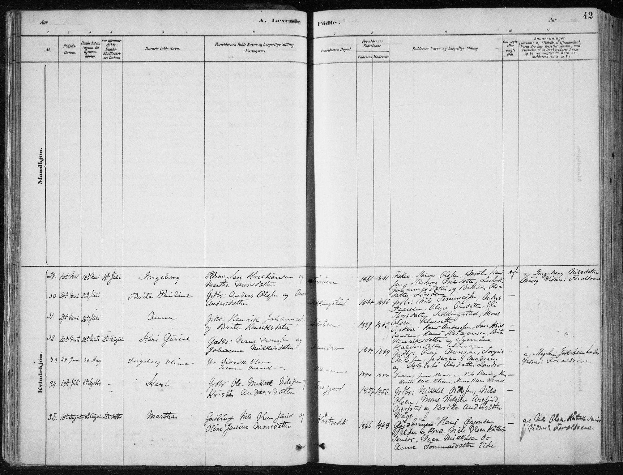 SAB, Fjell Sokneprestembete, H/Haa: Ministerialbok nr. A  8, 1878-1898, s. 42