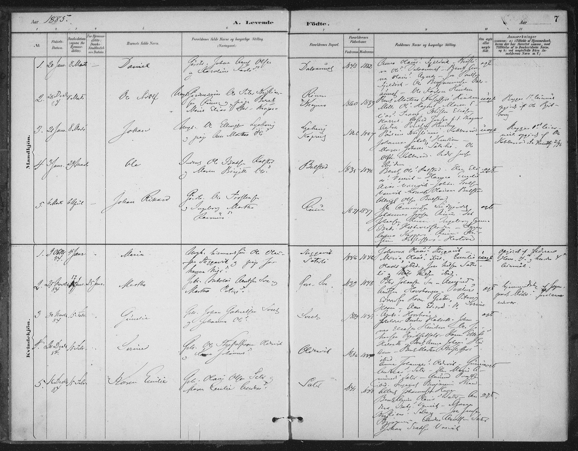 SAT, Ministerialprotokoller, klokkerbøker og fødselsregistre - Nord-Trøndelag, 702/L0023: Ministerialbok nr. 702A01, 1883-1897, s. 7