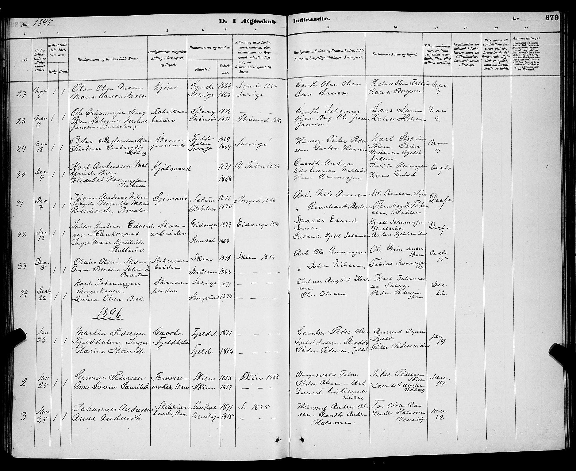 SAKO, Gjerpen kirkebøker, G/Ga/L0002: Klokkerbok nr. I 2, 1883-1900, s. 379