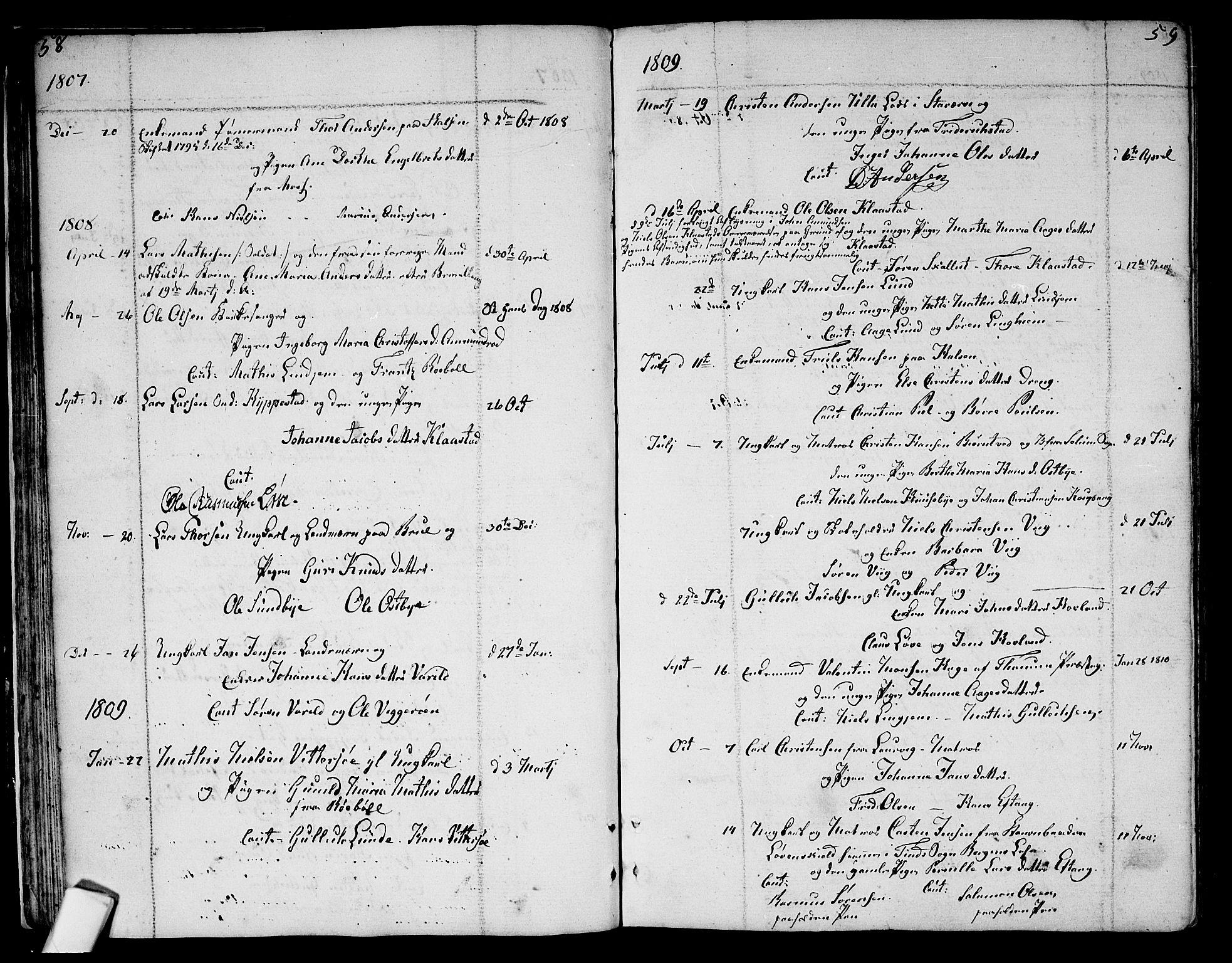 SAKO, Tjølling kirkebøker, F/Fa/L0004: Ministerialbok nr. 4, 1779-1817, s. 58-59