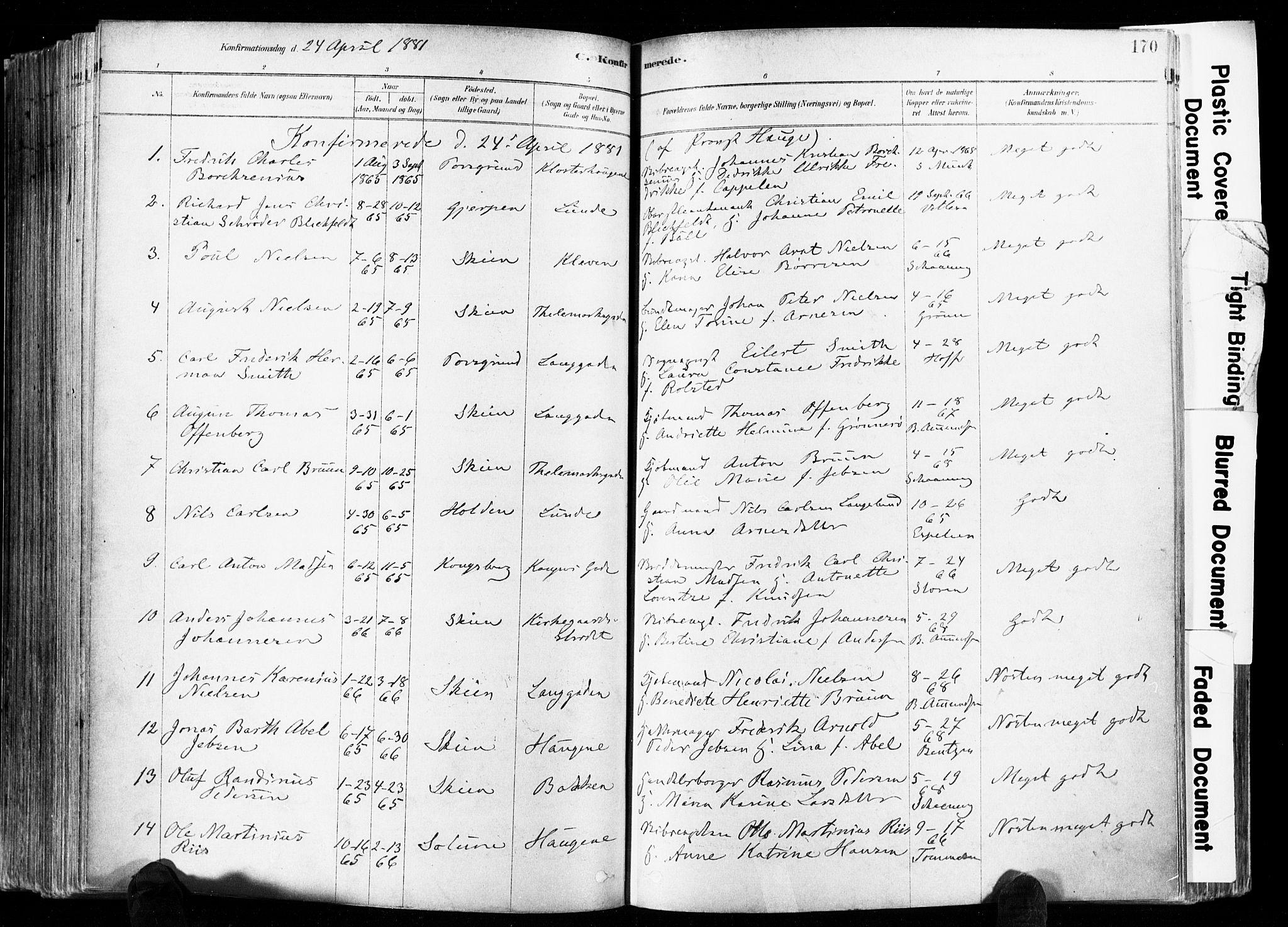 SAKO, Skien kirkebøker, F/Fa/L0009: Ministerialbok nr. 9, 1878-1890, s. 170
