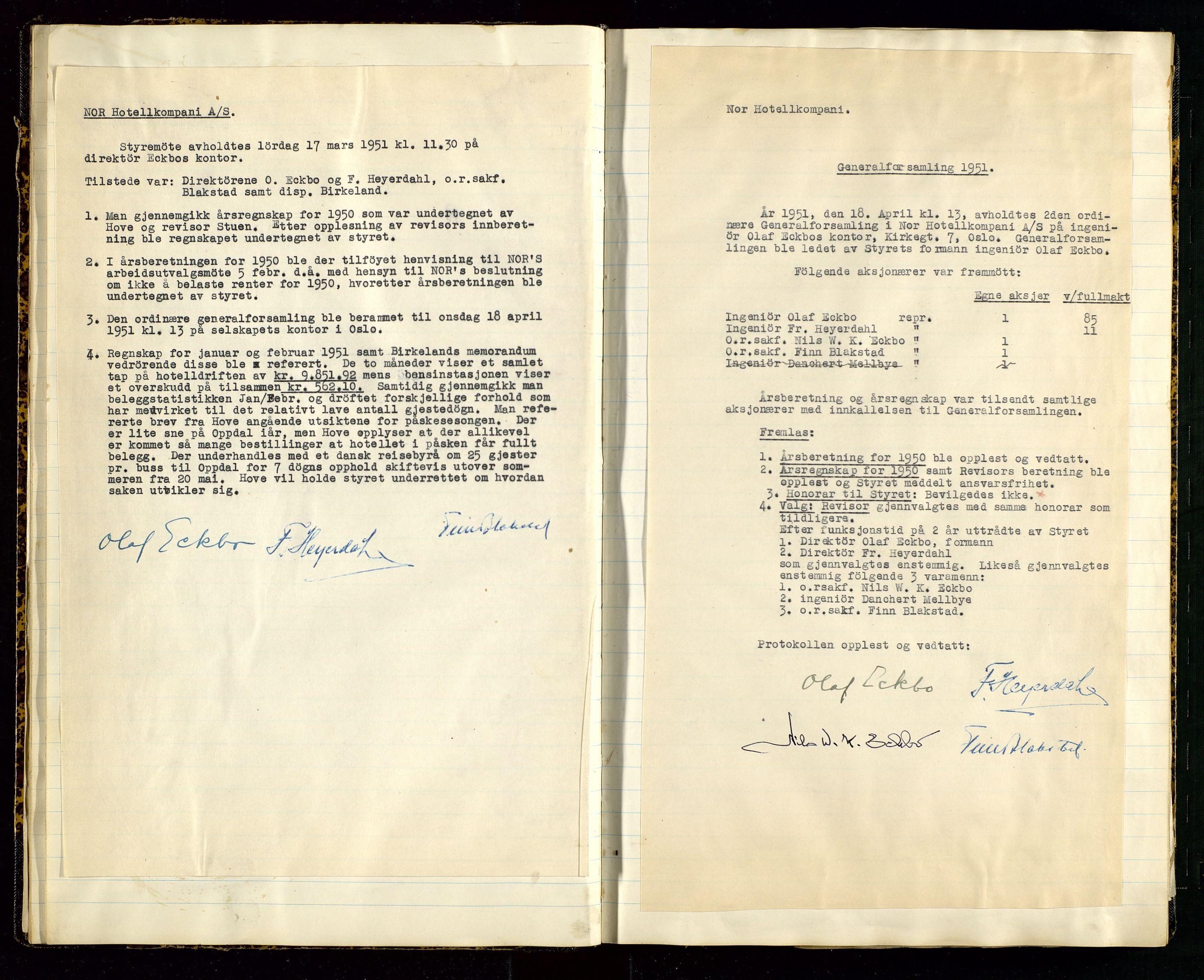 SAST, PA 1516 - Nor Hotellkompani A/S, A/L0001: Referatprotokoll, 1948-1855, s. 19