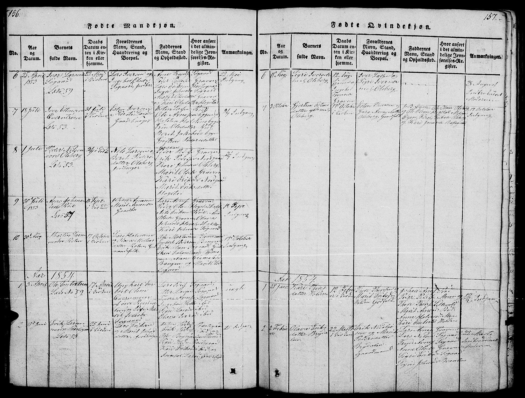 SAH, Tynset prestekontor, Klokkerbok nr. 4, 1814-1879, s. 156-157
