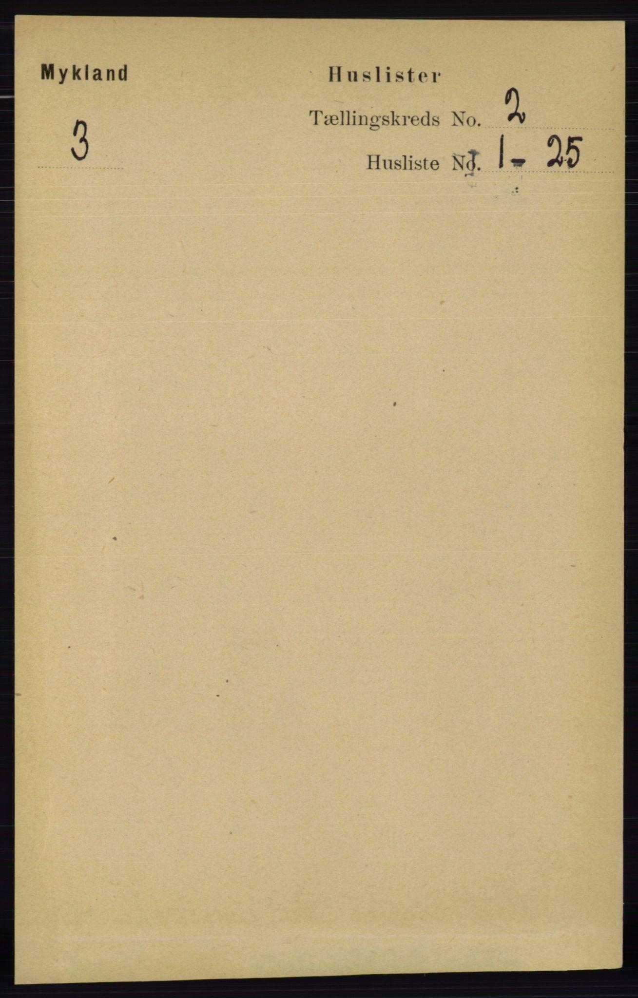 RA, Folketelling 1891 for 0932 Mykland herred, 1891, s. 275