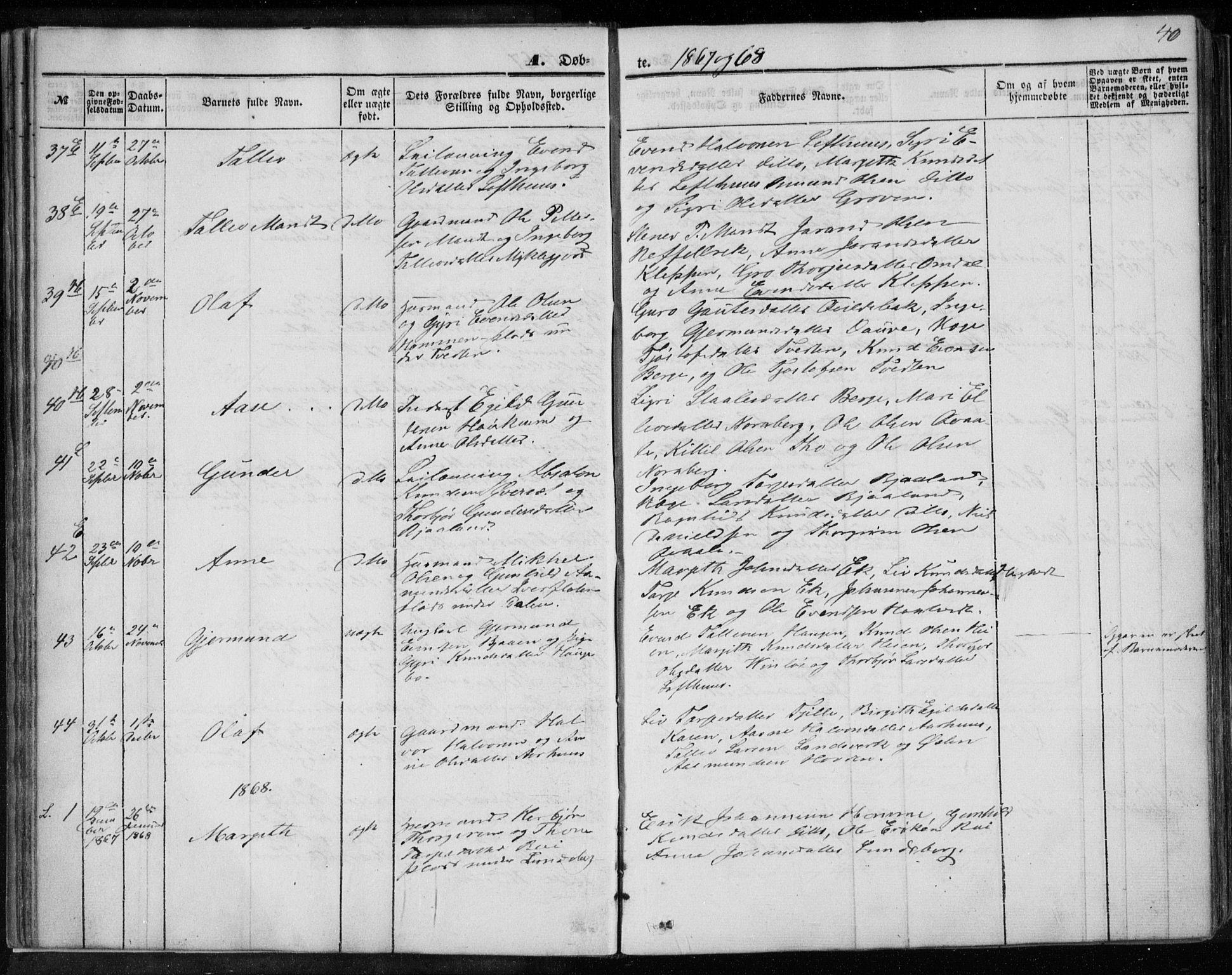 SAKO, Lårdal kirkebøker, F/Fa/L0006: Ministerialbok nr. I 6, 1861-1886, s. 40