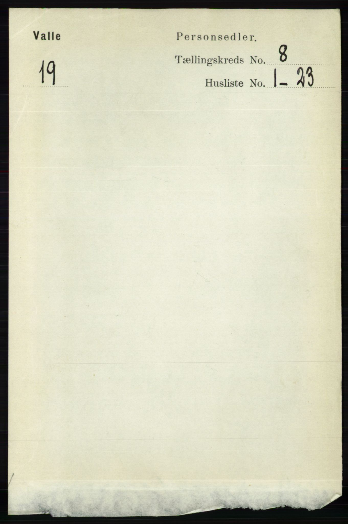 RA, Folketelling 1891 for 0940 Valle herred, 1891, s. 2236