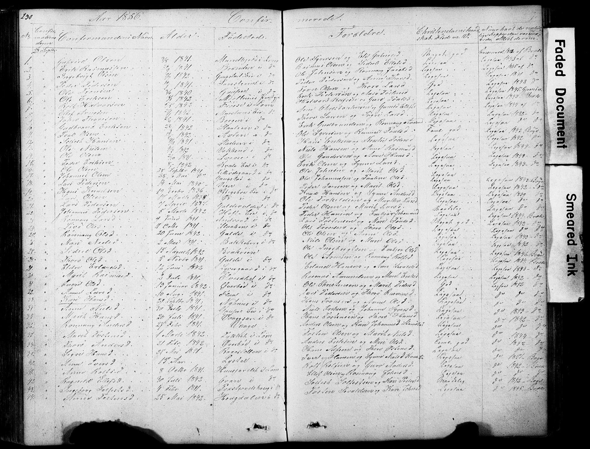 SAH, Lom prestekontor, L/L0012: Klokkerbok nr. 12, 1845-1873, s. 230-231
