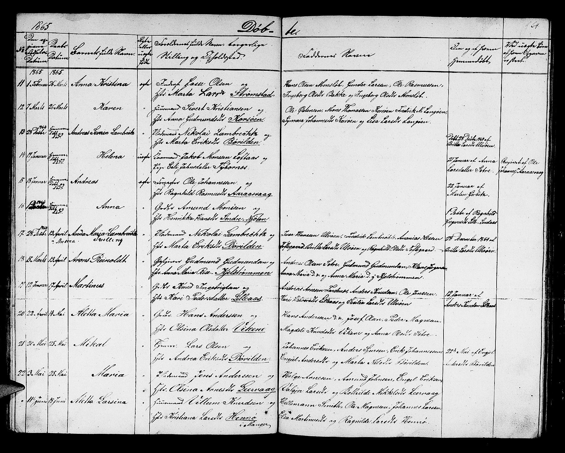 SAB, Lindås Sokneprestembete, H/Hab: Klokkerbok nr. C 1, 1853-1867, s. 64