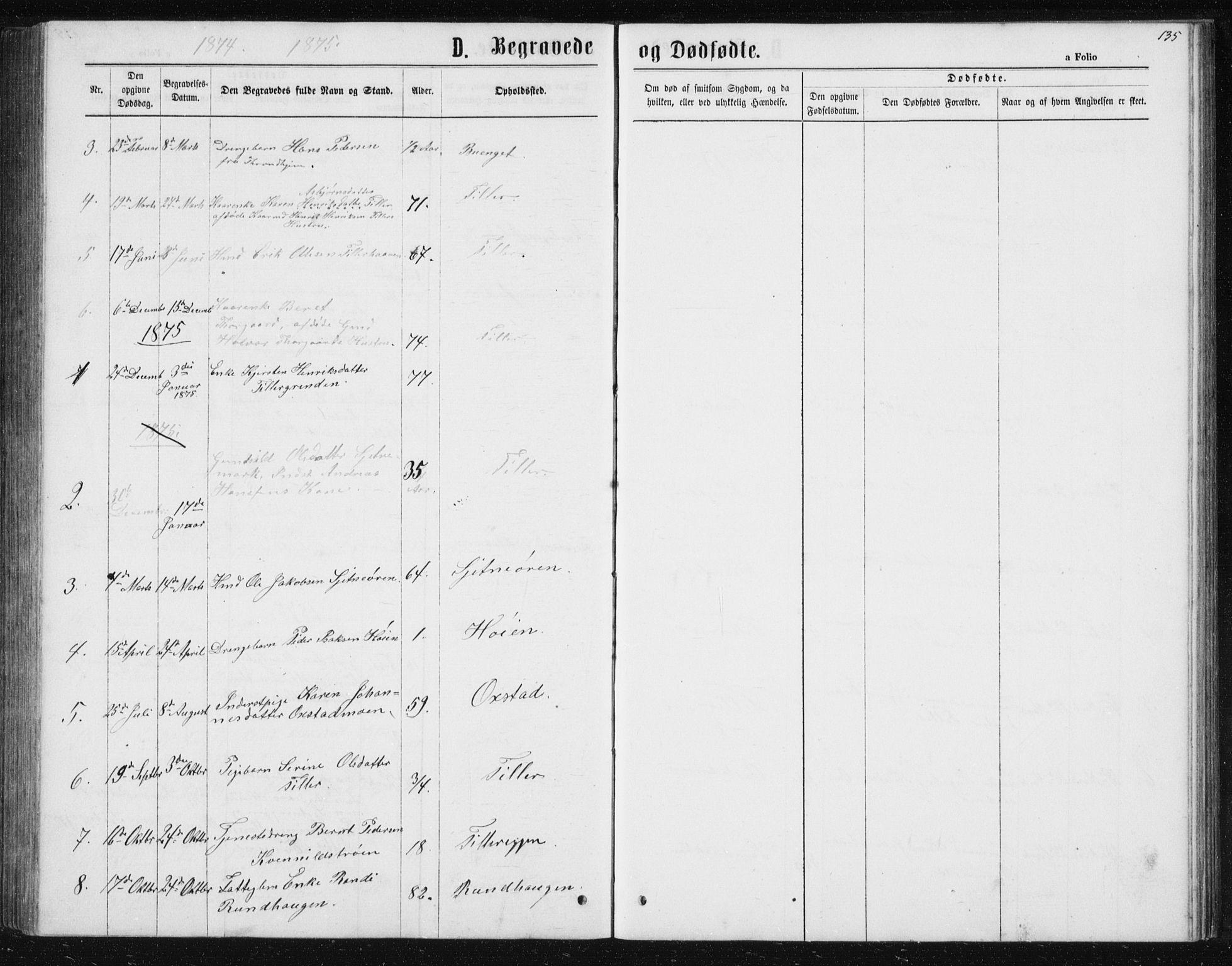 SAT, Ministerialprotokoller, klokkerbøker og fødselsregistre - Sør-Trøndelag, 621/L0459: Klokkerbok nr. 621C02, 1866-1895, s. 135