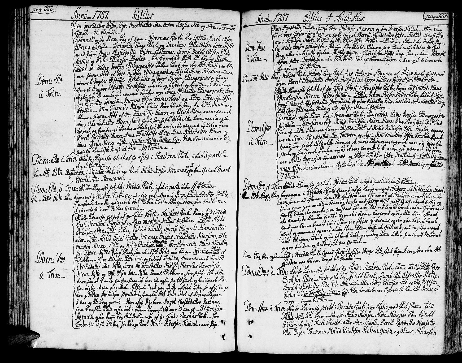 SAT, Ministerialprotokoller, klokkerbøker og fødselsregistre - Møre og Romsdal, 547/L0600: Ministerialbok nr. 547A02, 1765-1799, s. 322-323