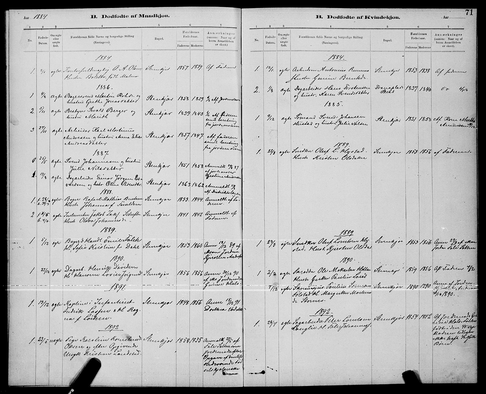 SAT, Ministerialprotokoller, klokkerbøker og fødselsregistre - Nord-Trøndelag, 739/L0374: Klokkerbok nr. 739C02, 1883-1898, s. 71