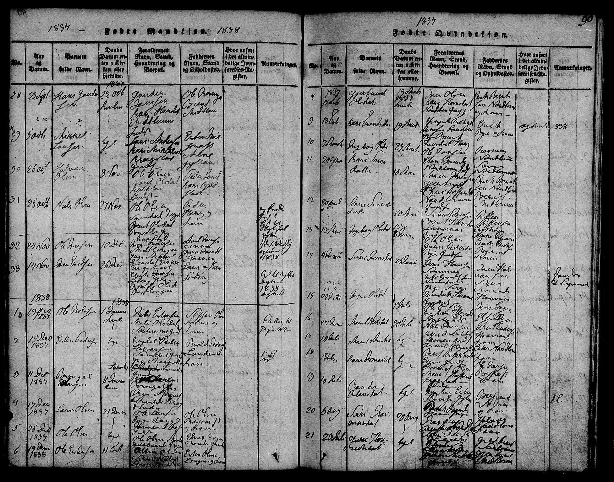SAT, Ministerialprotokoller, klokkerbøker og fødselsregistre - Sør-Trøndelag, 692/L1102: Ministerialbok nr. 692A02, 1816-1842, s. 90