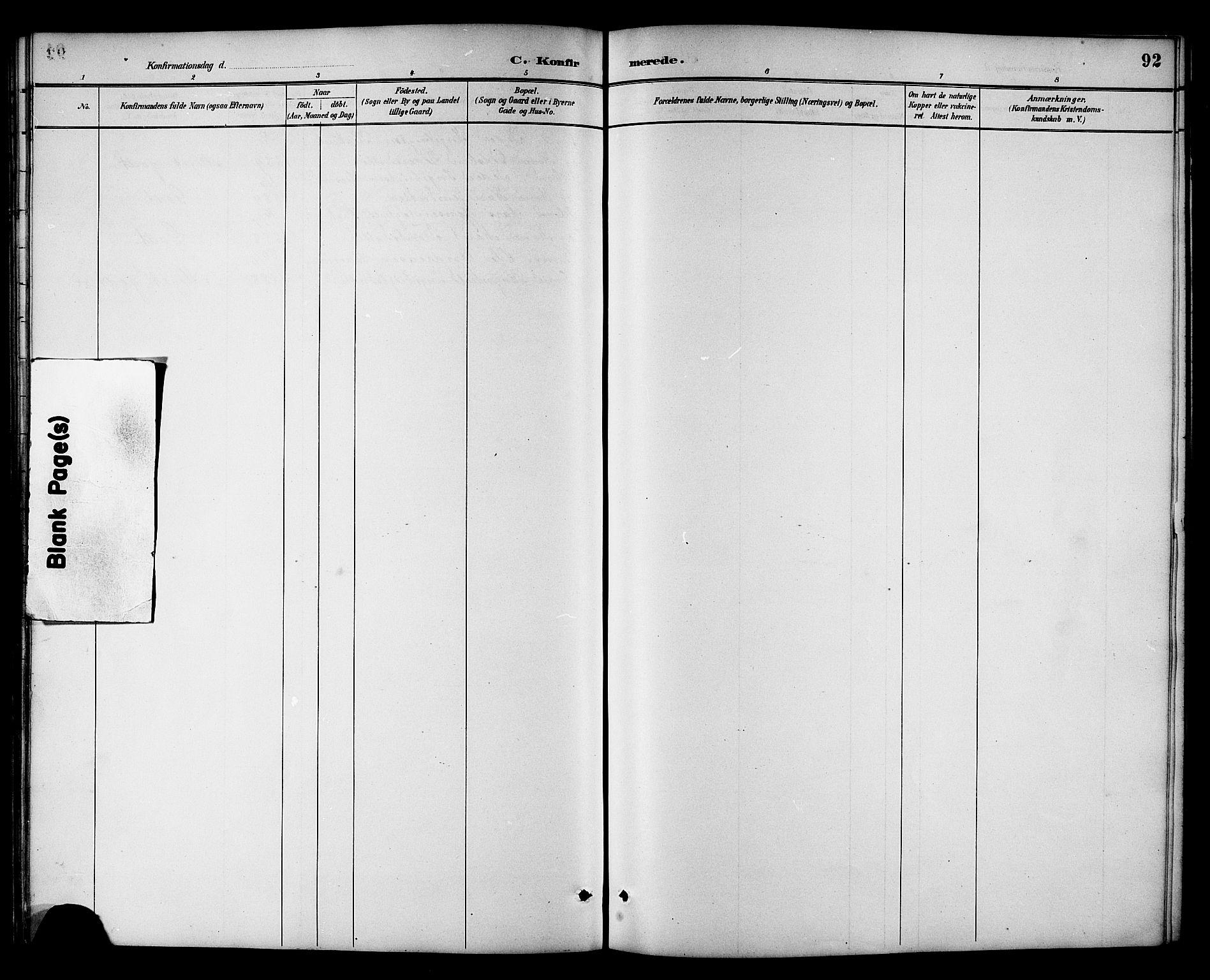 SAT, Ministerialprotokoller, klokkerbøker og fødselsregistre - Sør-Trøndelag, 698/L1167: Klokkerbok nr. 698C04, 1888-1907, s. 92